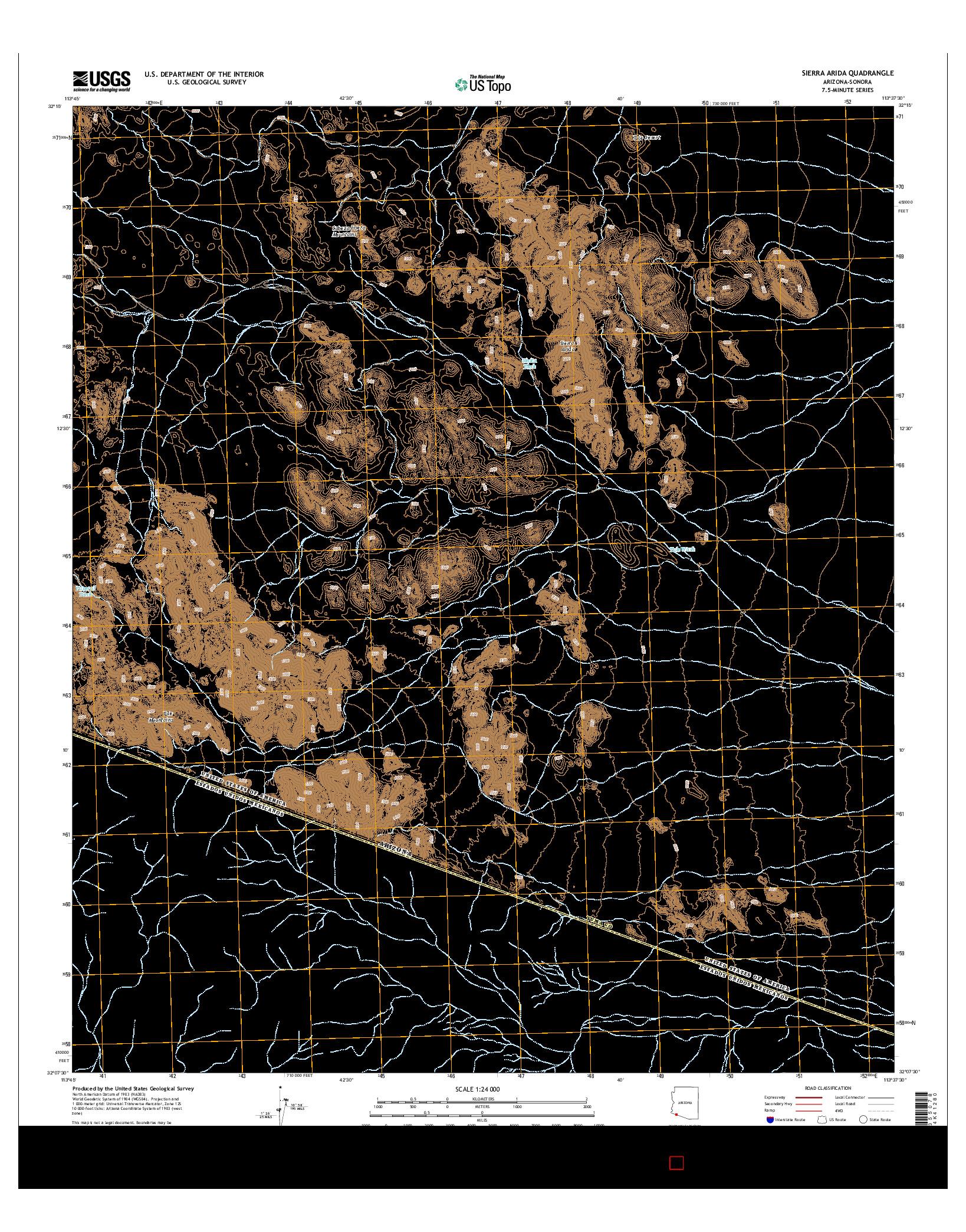 USGS US TOPO 7.5-MINUTE MAP FOR SIERRA ARIDA, AZ-SON 2014