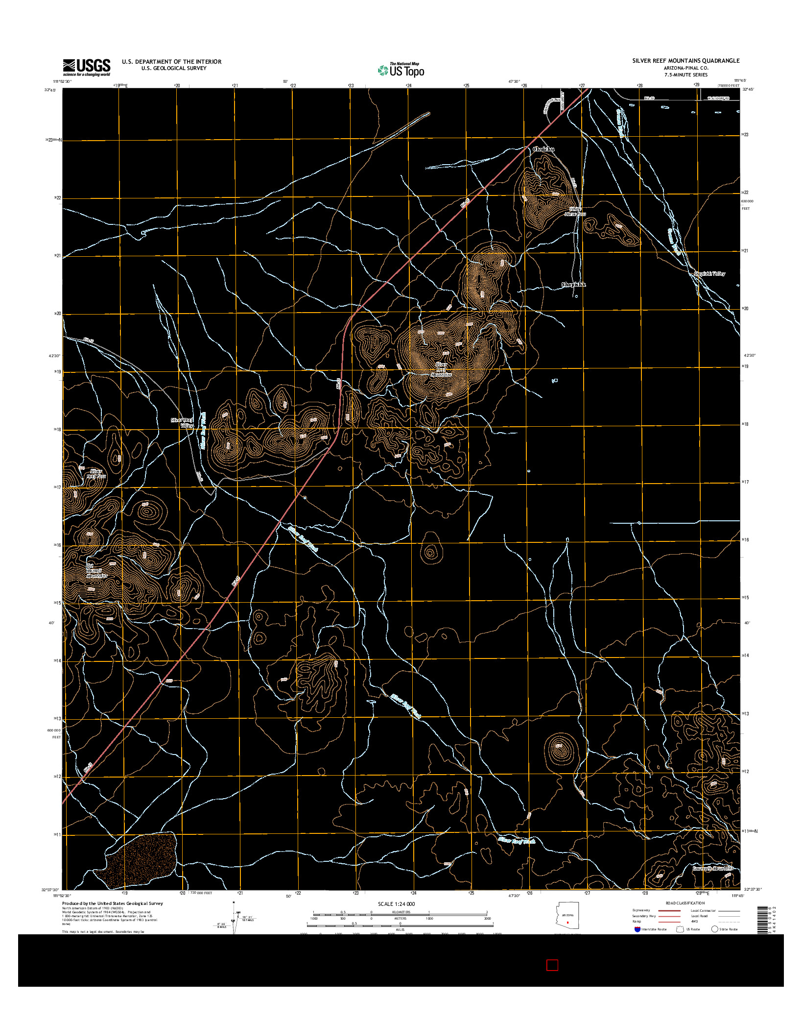 USGS US TOPO 7.5-MINUTE MAP FOR SILVER REEF MOUNTAINS, AZ 2014