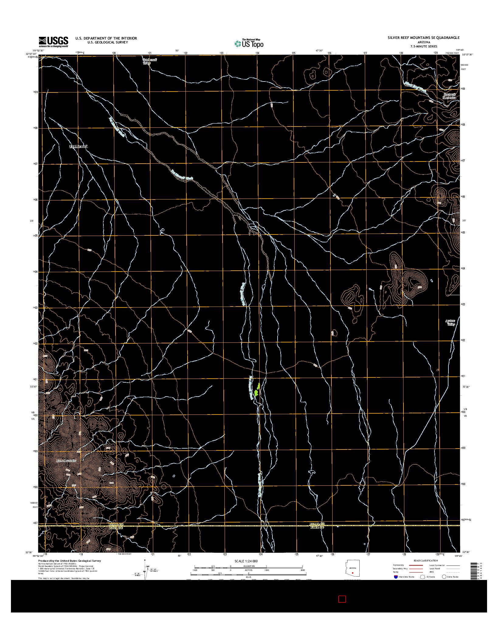 USGS US TOPO 7.5-MINUTE MAP FOR SILVER REEF MOUNTAINS SE, AZ 2014