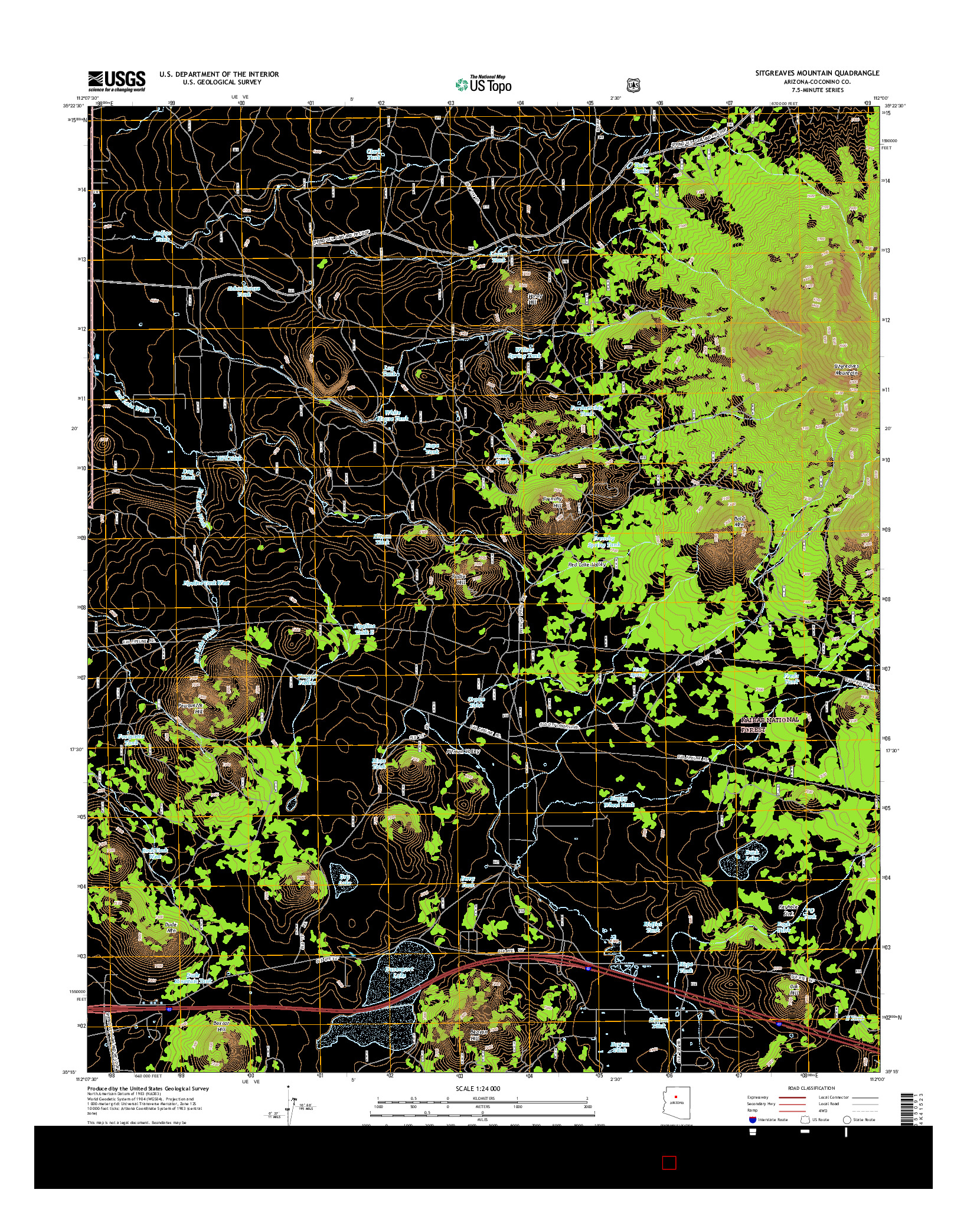 USGS US TOPO 7.5-MINUTE MAP FOR SITGREAVES MOUNTAIN, AZ 2014