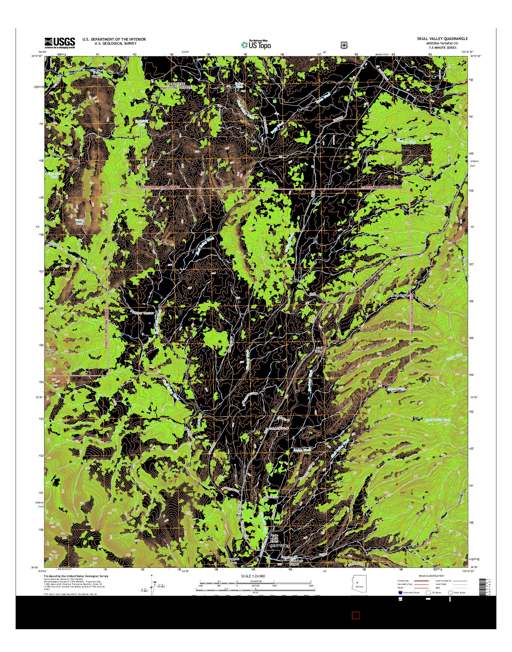 USGS US TOPO 7.5-MINUTE MAP FOR SKULL VALLEY, AZ 2014