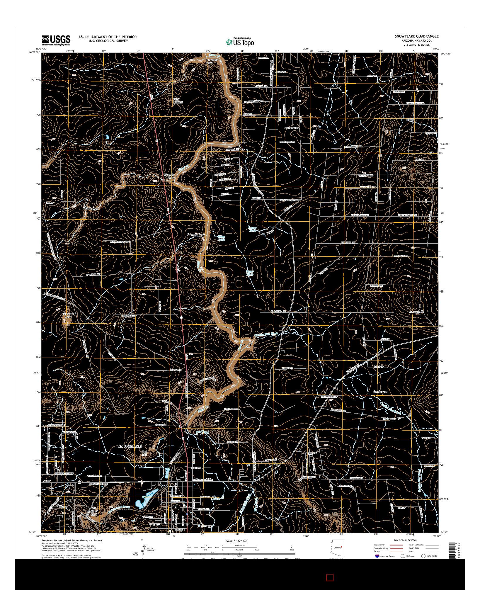 USGS US TOPO 7.5-MINUTE MAP FOR SNOWFLAKE, AZ 2014