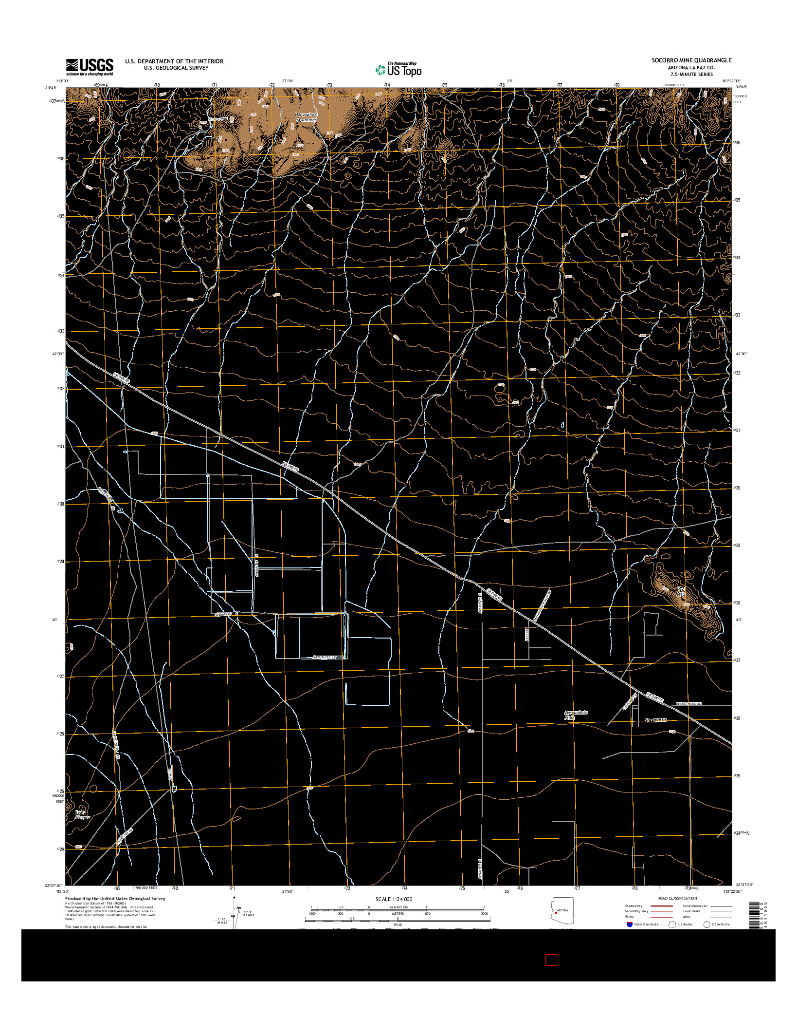 USGS US TOPO 7.5-MINUTE MAP FOR SOCORRO MINE, AZ 2014