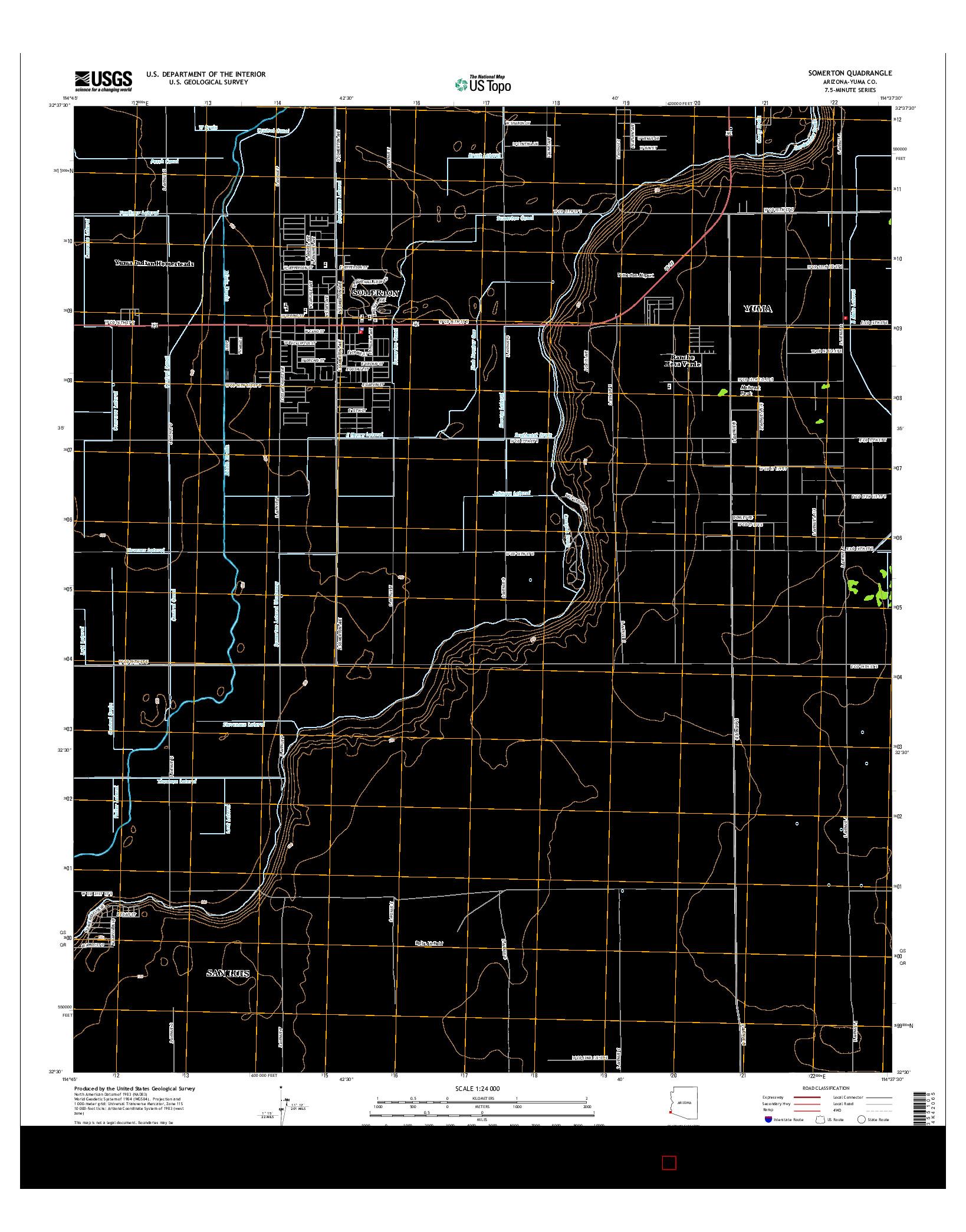 USGS US TOPO 7.5-MINUTE MAP FOR SOMERTON, AZ 2014