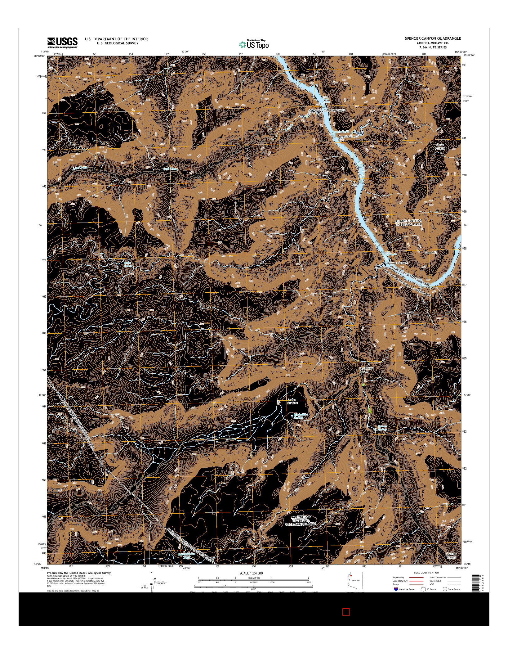 USGS US TOPO 7.5-MINUTE MAP FOR SPENCER CANYON, AZ 2014