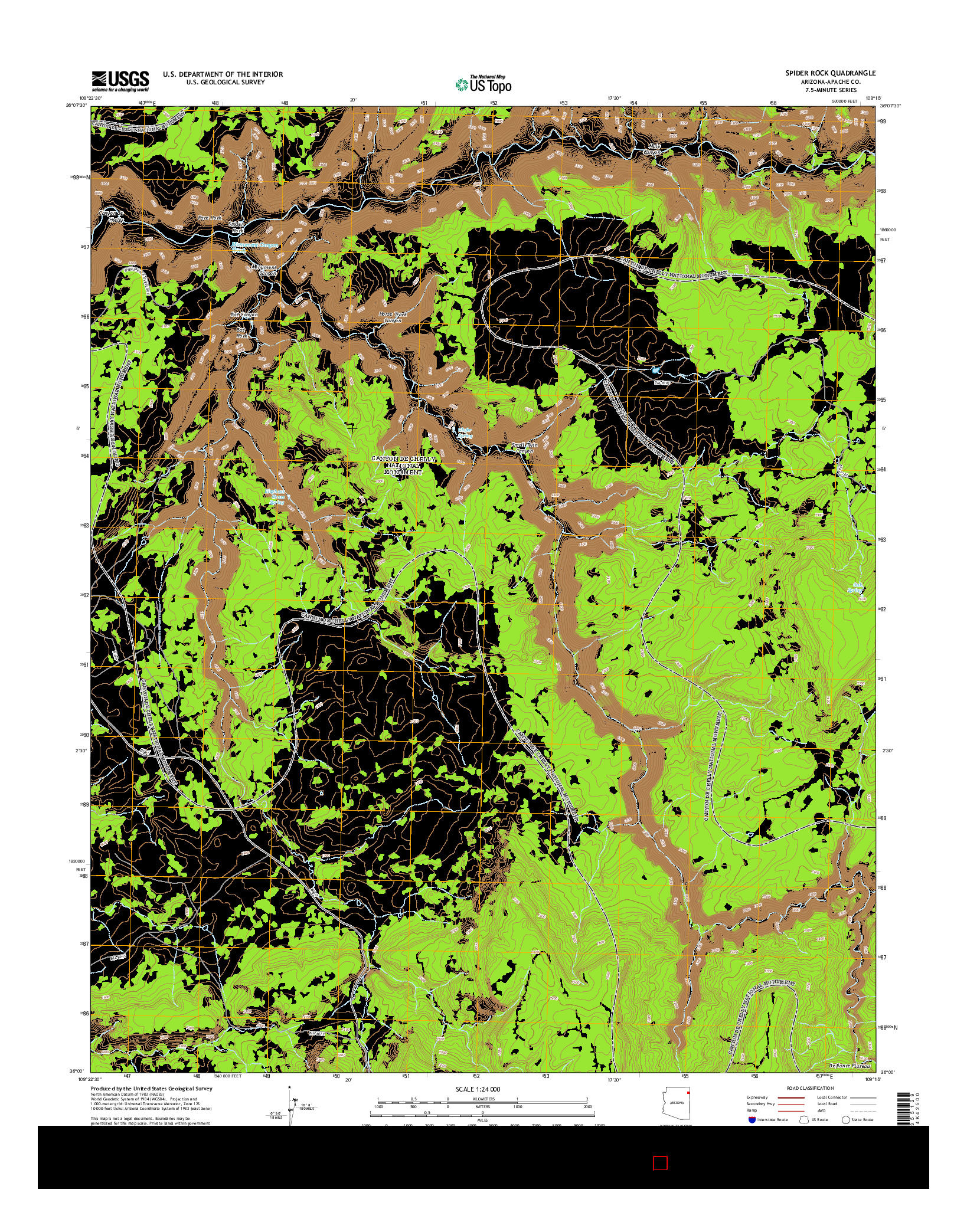 USGS US TOPO 7.5-MINUTE MAP FOR SPIDER ROCK, AZ 2014