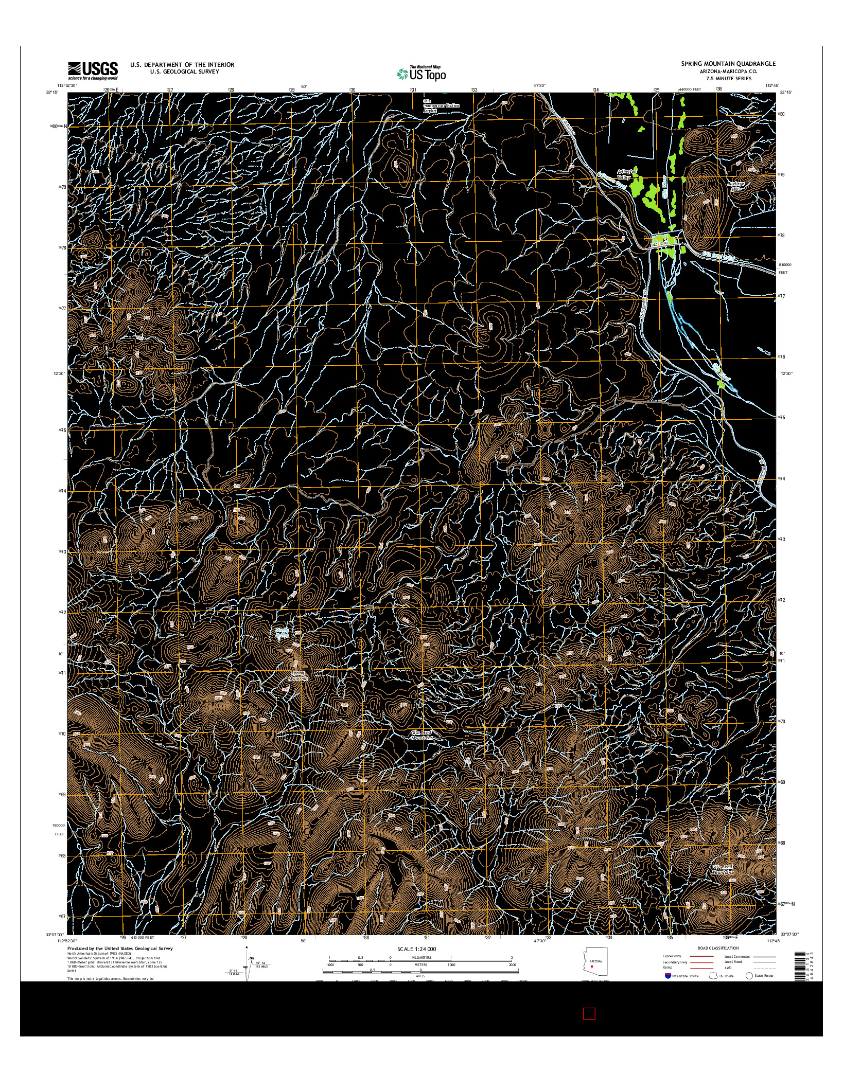 USGS US TOPO 7.5-MINUTE MAP FOR SPRING MOUNTAIN, AZ 2014