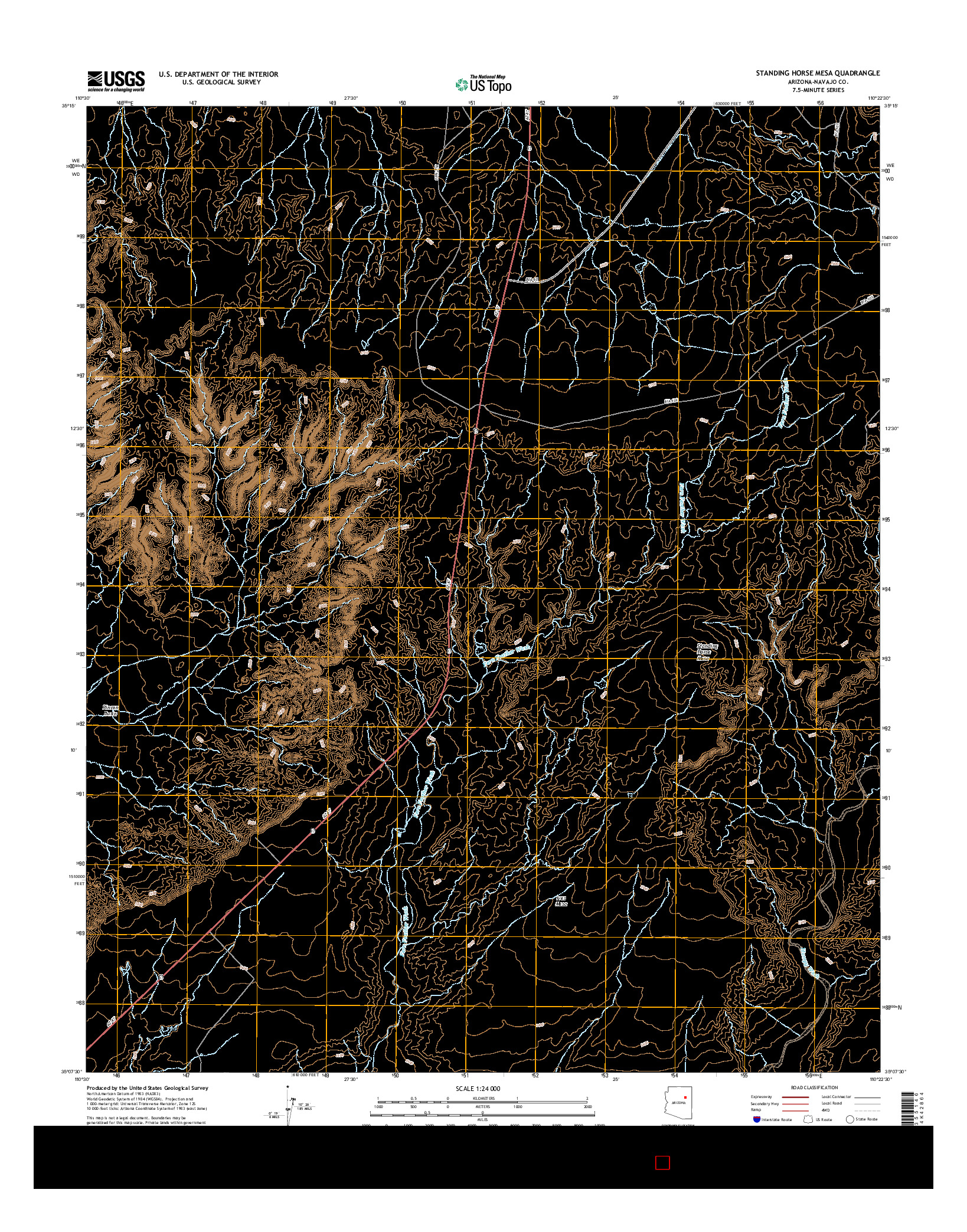 USGS US TOPO 7.5-MINUTE MAP FOR STANDING HORSE MESA, AZ 2014