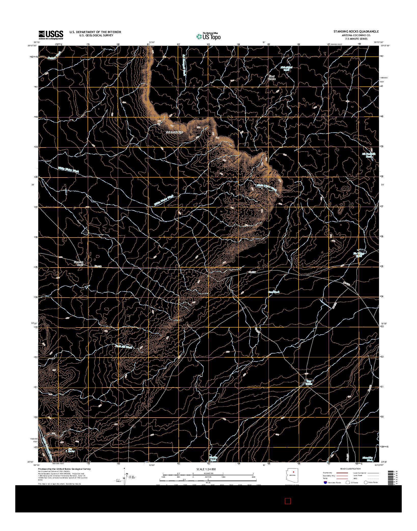 USGS US TOPO 7.5-MINUTE MAP FOR STANDING ROCKS, AZ 2014