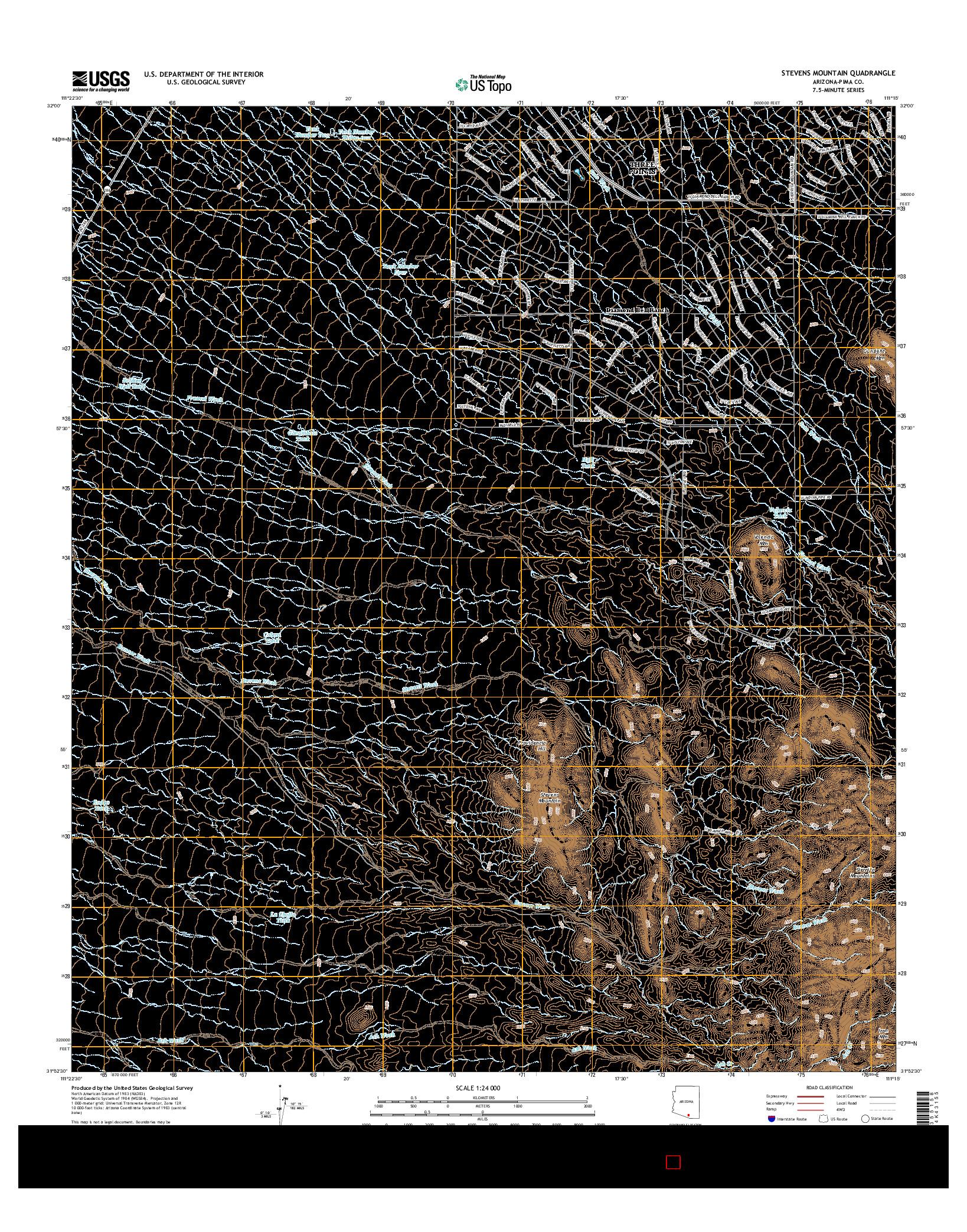 USGS US TOPO 7.5-MINUTE MAP FOR STEVENS MOUNTAIN, AZ 2014
