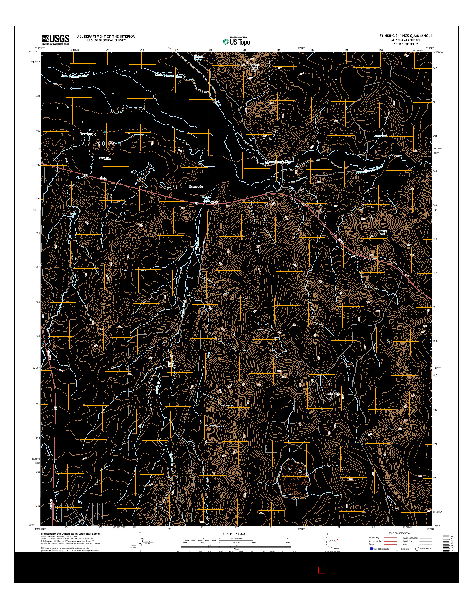 USGS US TOPO 7.5-MINUTE MAP FOR STINKING SPRINGS, AZ 2014