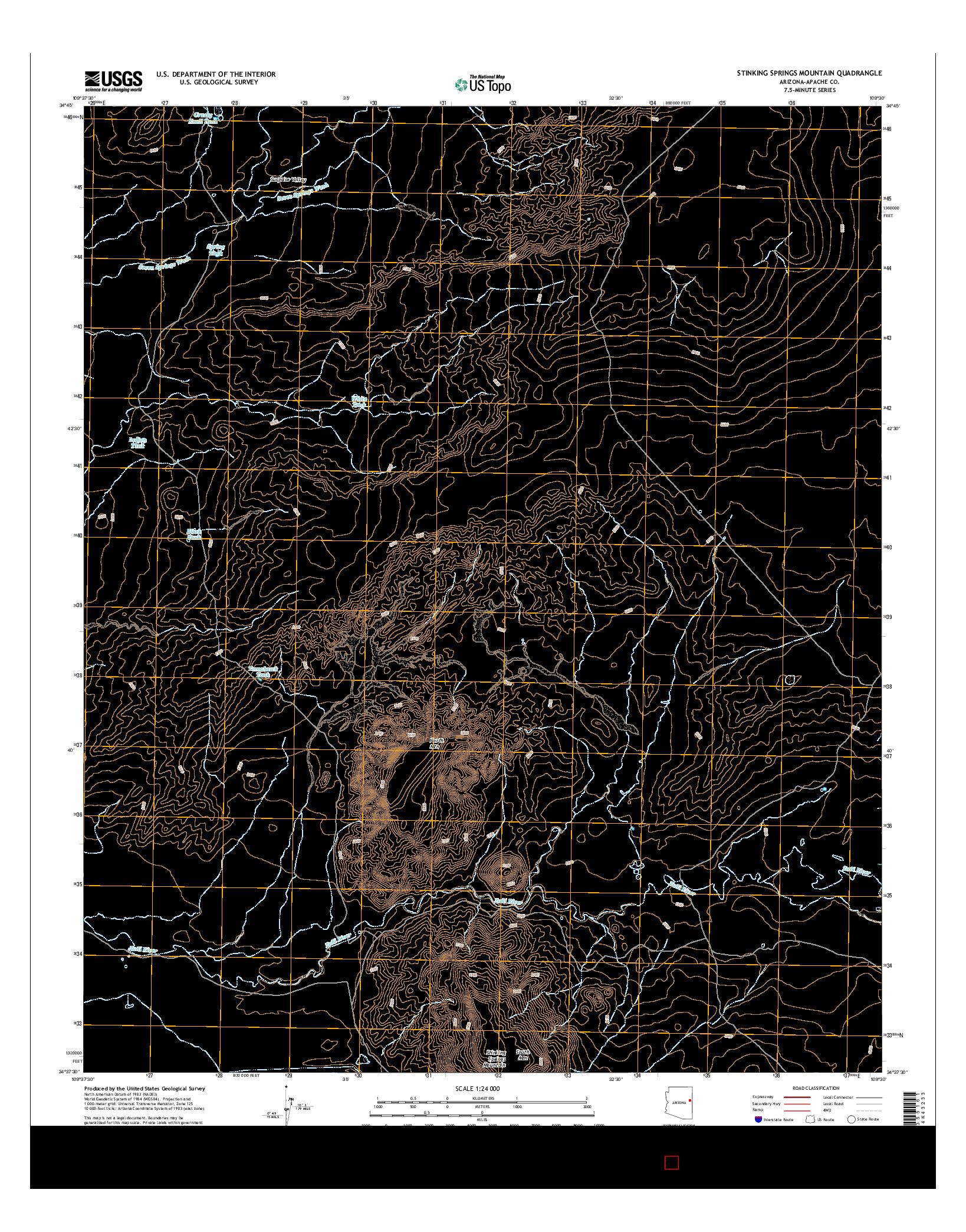 USGS US TOPO 7.5-MINUTE MAP FOR STINKING SPRINGS MOUNTAIN, AZ 2014