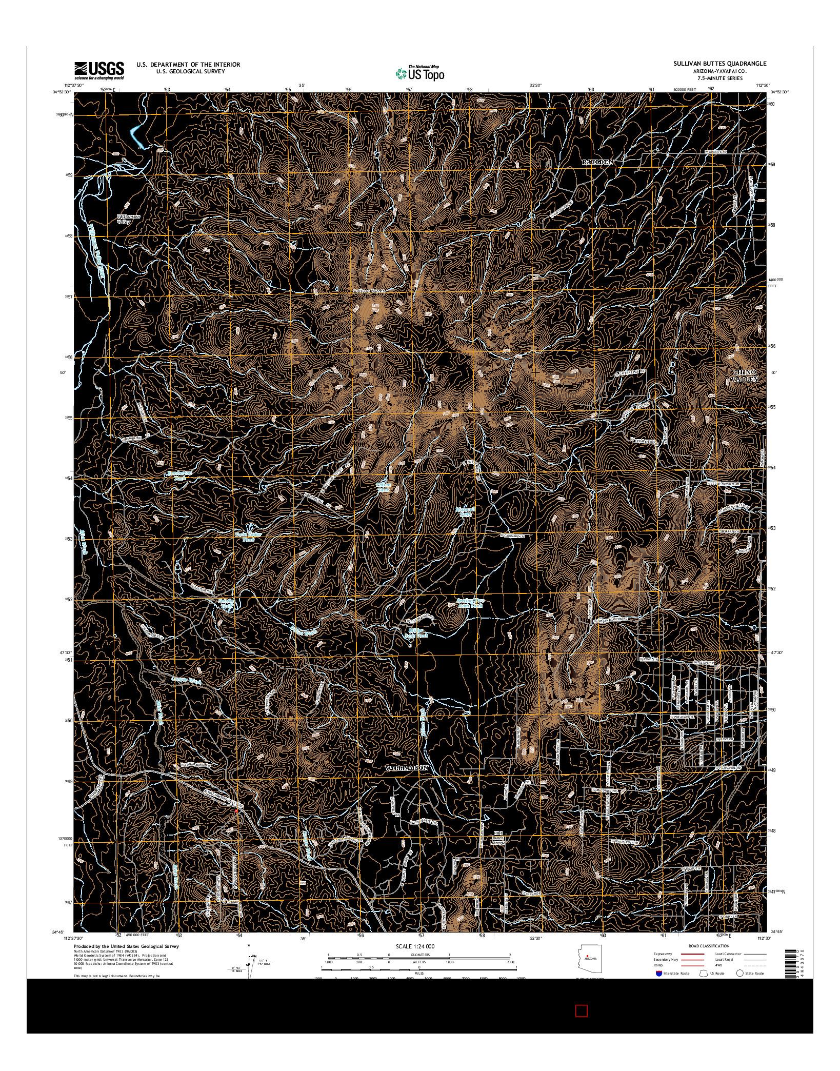 USGS US TOPO 7.5-MINUTE MAP FOR SULLIVAN BUTTES, AZ 2014