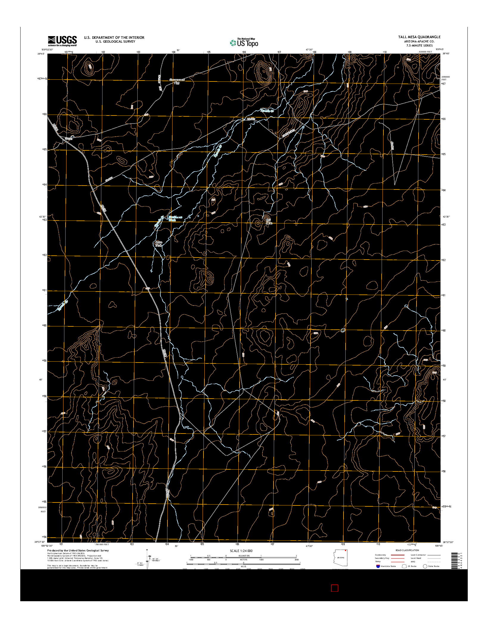USGS US TOPO 7.5-MINUTE MAP FOR TALL MESA, AZ 2014