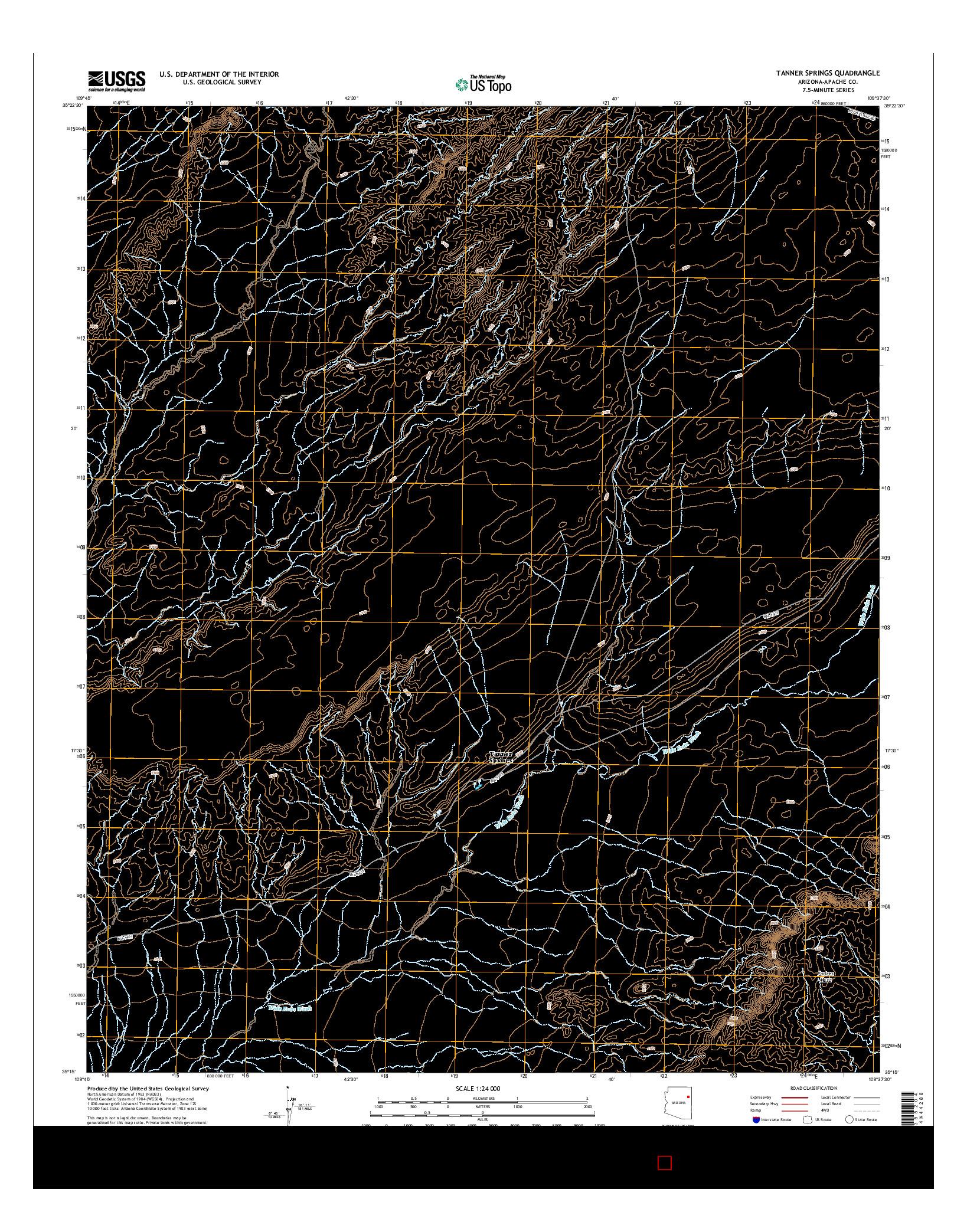 USGS US TOPO 7.5-MINUTE MAP FOR TANNER SPRINGS, AZ 2014