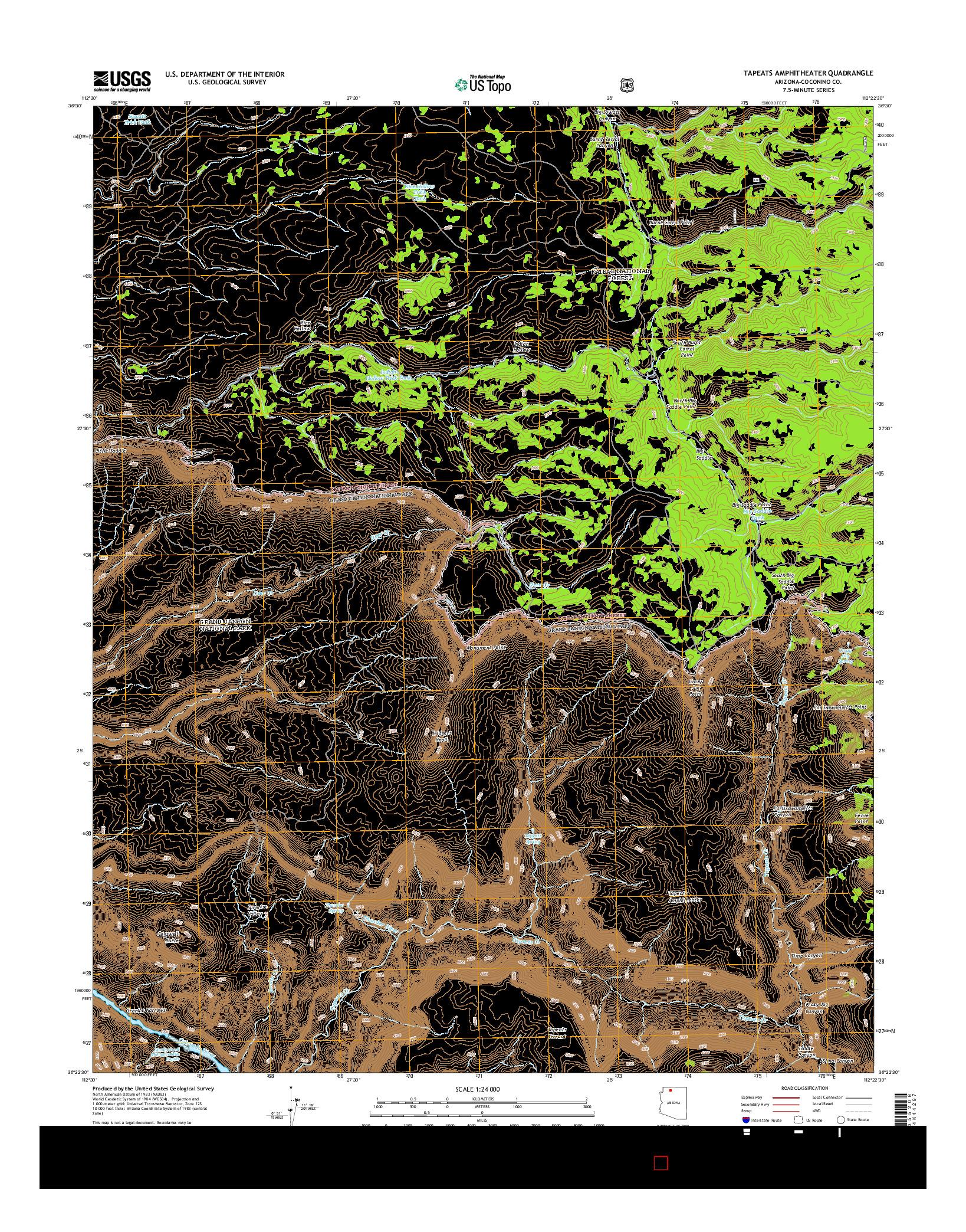 USGS US TOPO 7.5-MINUTE MAP FOR TAPEATS AMPHITHEATER, AZ 2014