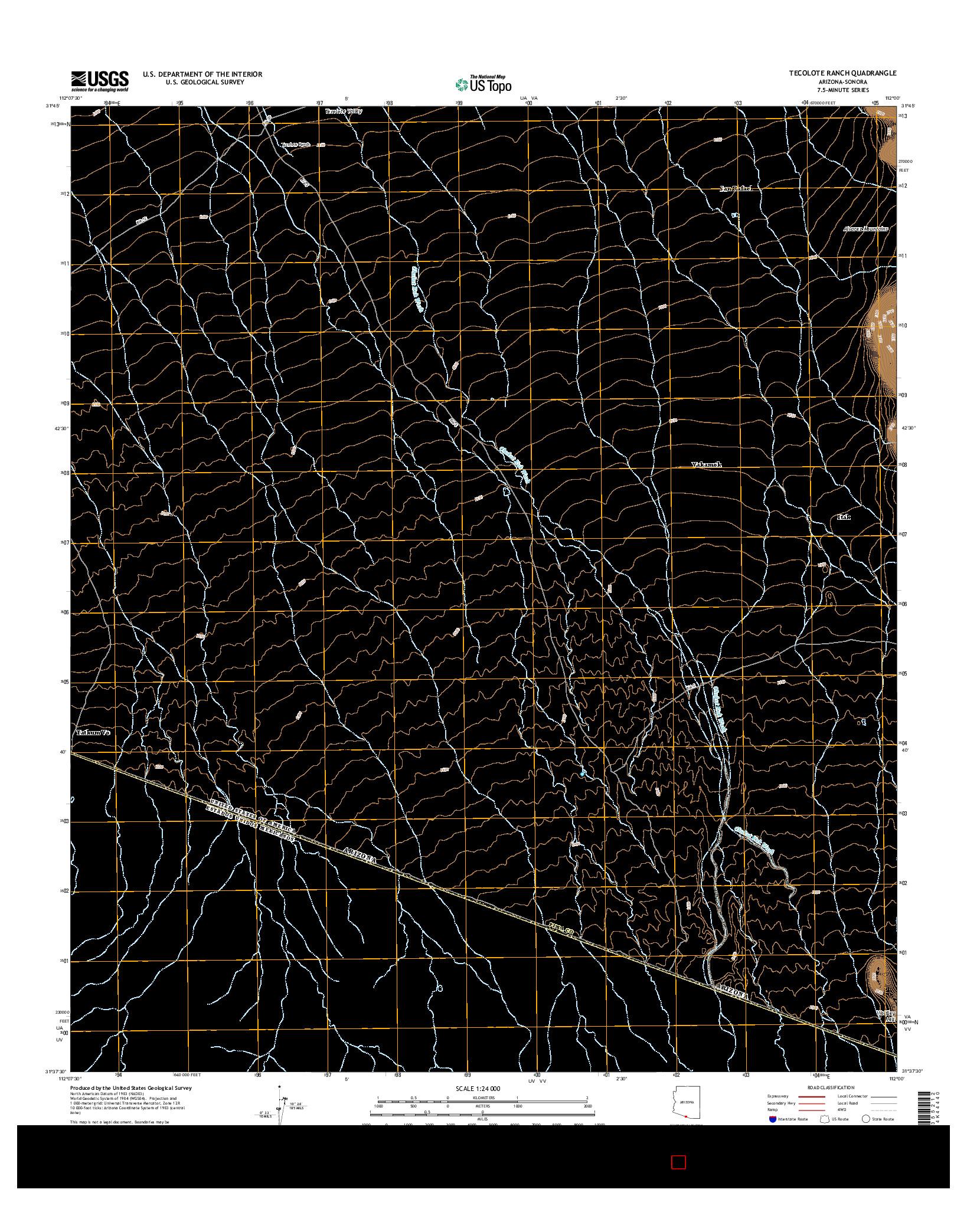 USGS US TOPO 7.5-MINUTE MAP FOR TECOLOTE RANCH, AZ-SON 2014
