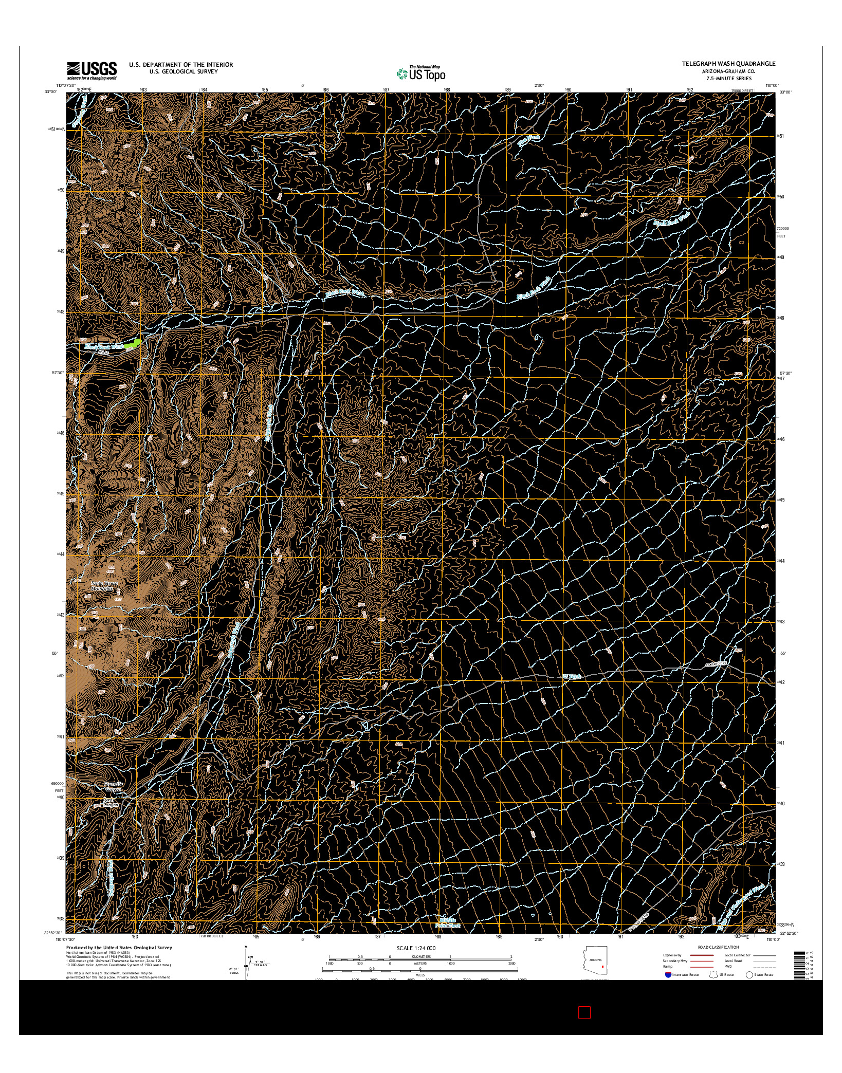 USGS US TOPO 7.5-MINUTE MAP FOR TELEGRAPH WASH, AZ 2014