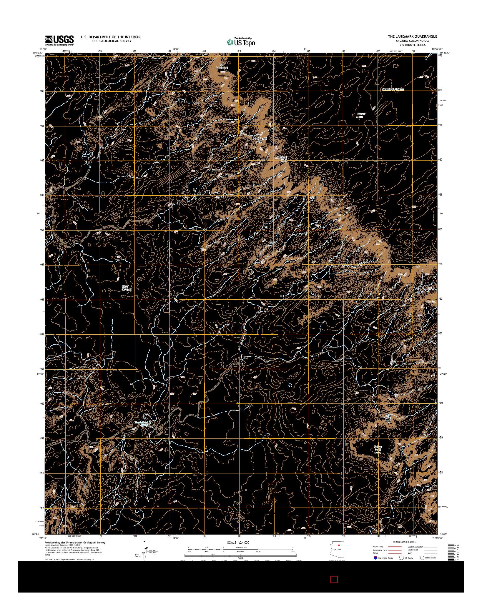 USGS US TOPO 7.5-MINUTE MAP FOR THE LANDMARK, AZ 2014