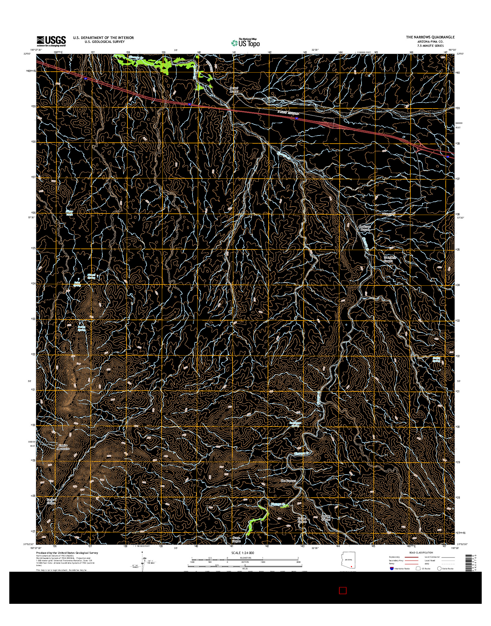 USGS US TOPO 7.5-MINUTE MAP FOR THE NARROWS, AZ 2014