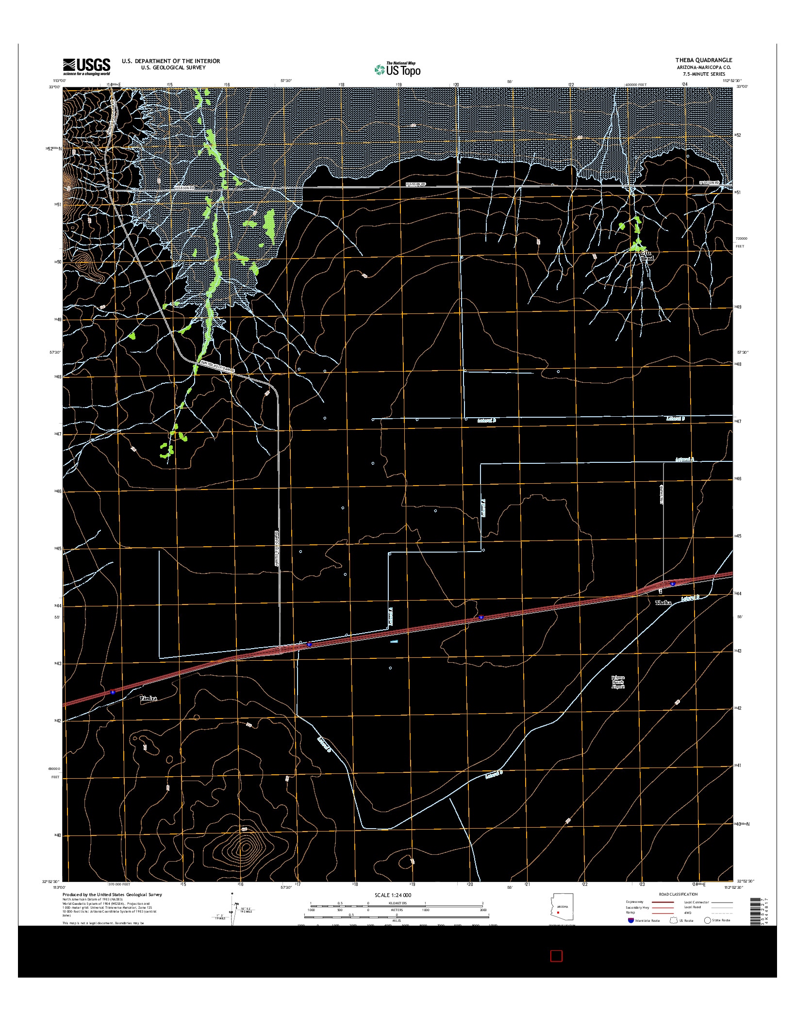 USGS US TOPO 7.5-MINUTE MAP FOR THEBA, AZ 2014