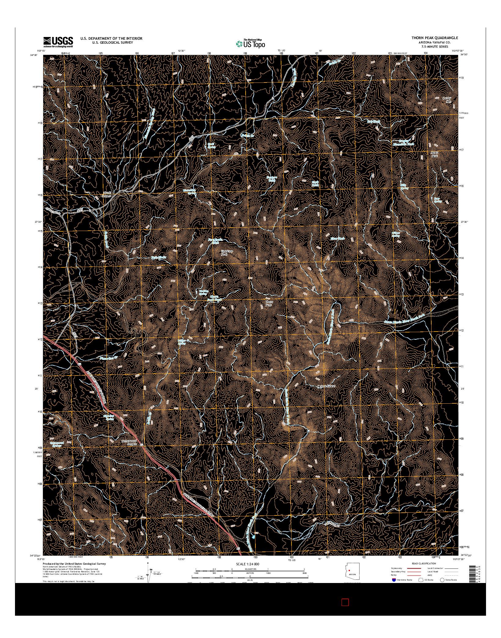 USGS US TOPO 7.5-MINUTE MAP FOR THORN PEAK, AZ 2014