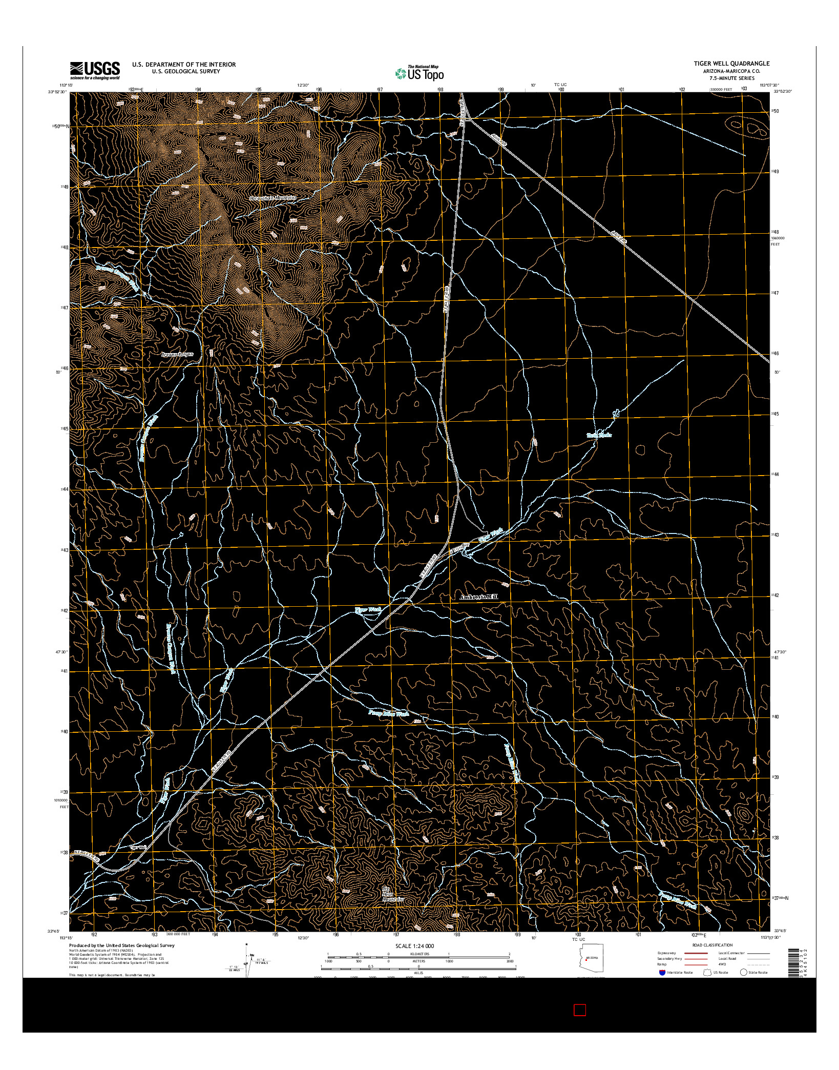 USGS US TOPO 7.5-MINUTE MAP FOR TIGER WELL, AZ 2014
