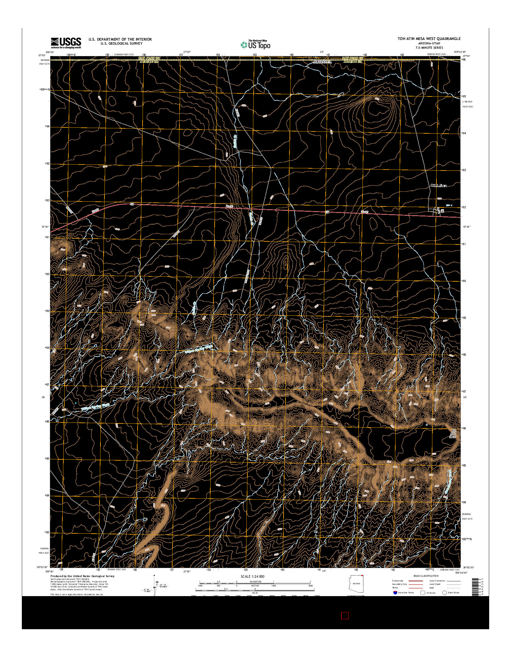 USGS US TOPO 7.5-MINUTE MAP FOR TOH ATIN MESA WEST, AZ-UT 2014