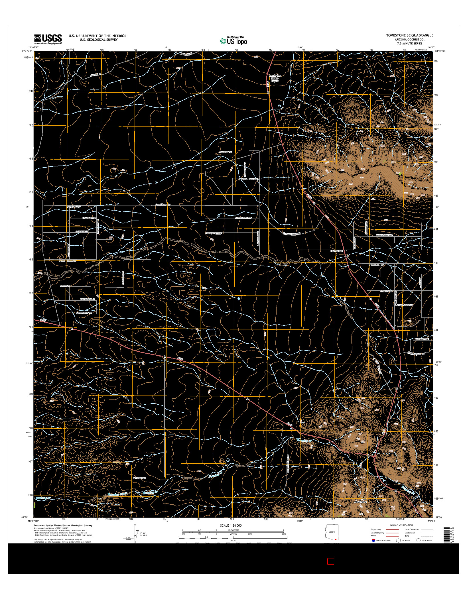 USGS US TOPO 7.5-MINUTE MAP FOR TOMBSTONE SE, AZ 2014