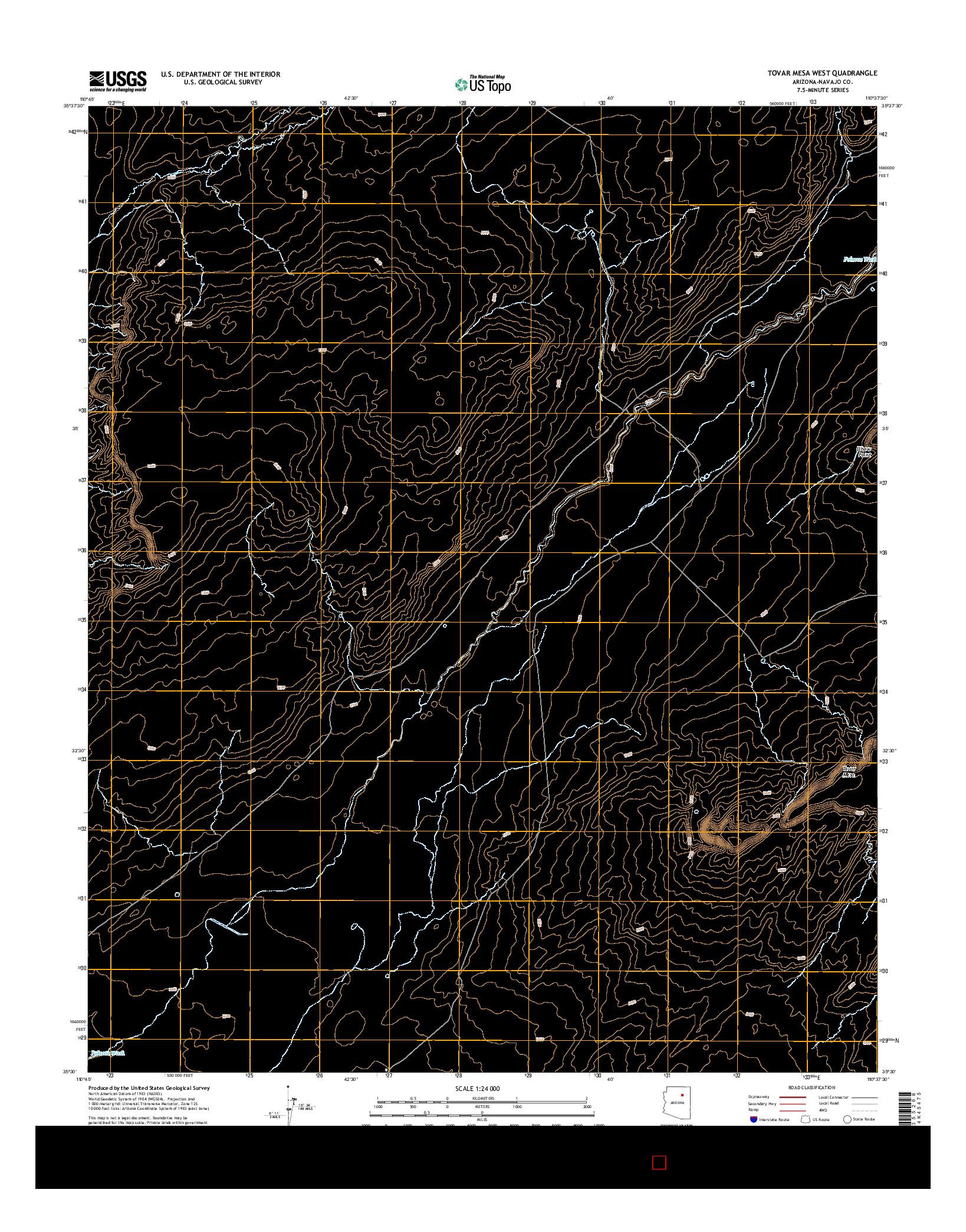 USGS US TOPO 7.5-MINUTE MAP FOR TOVAR MESA WEST, AZ 2014