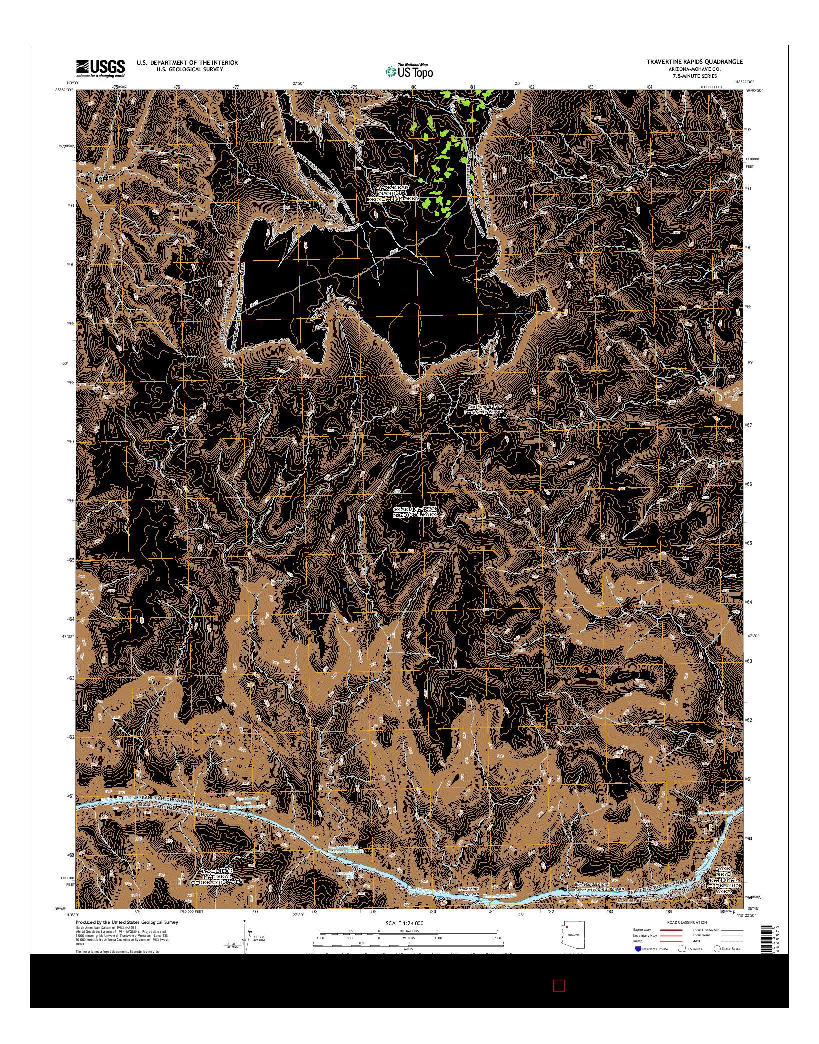 USGS US TOPO 7.5-MINUTE MAP FOR TRAVERTINE RAPIDS, AZ 2014
