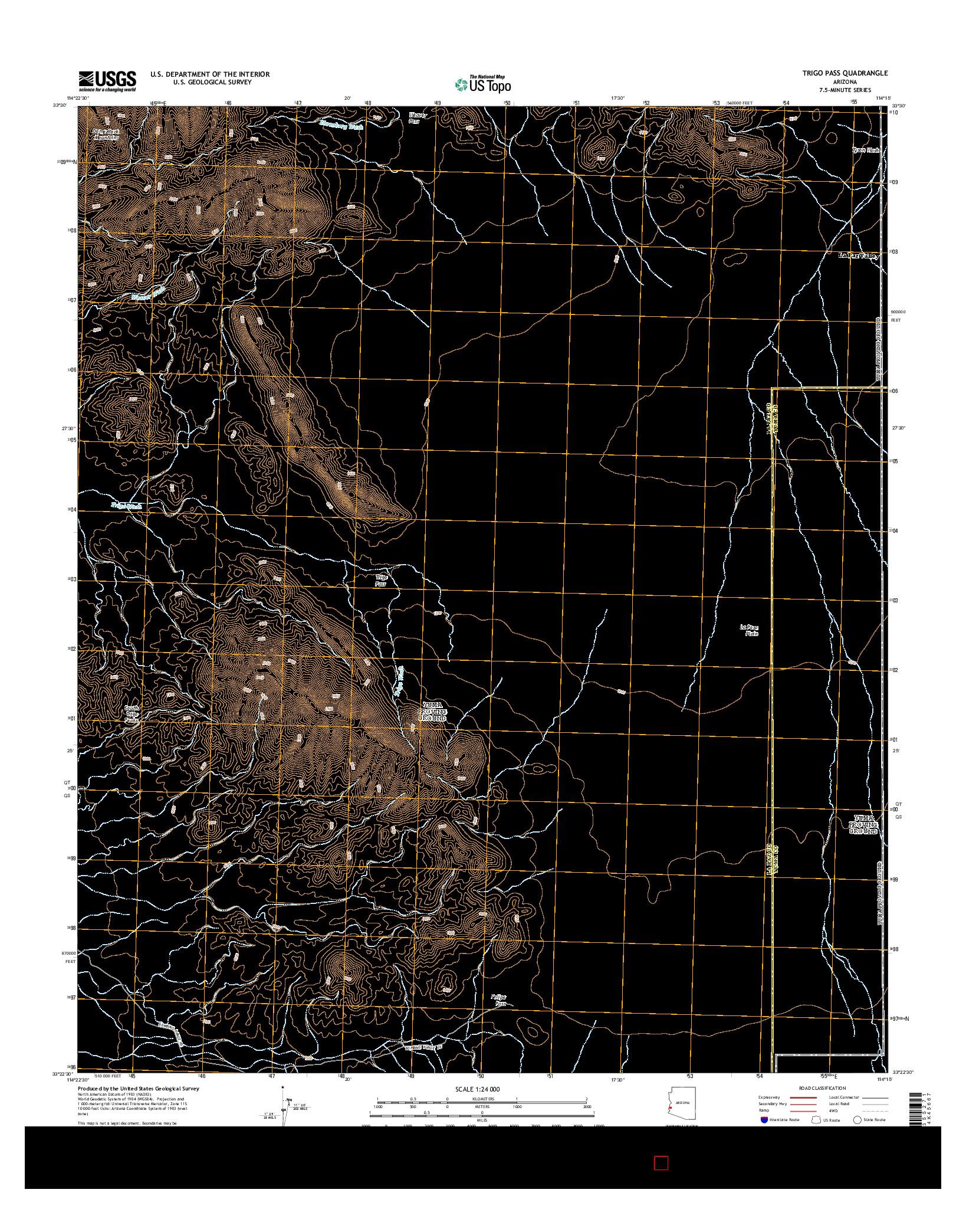USGS US TOPO 7.5-MINUTE MAP FOR TRIGO PASS, AZ 2014