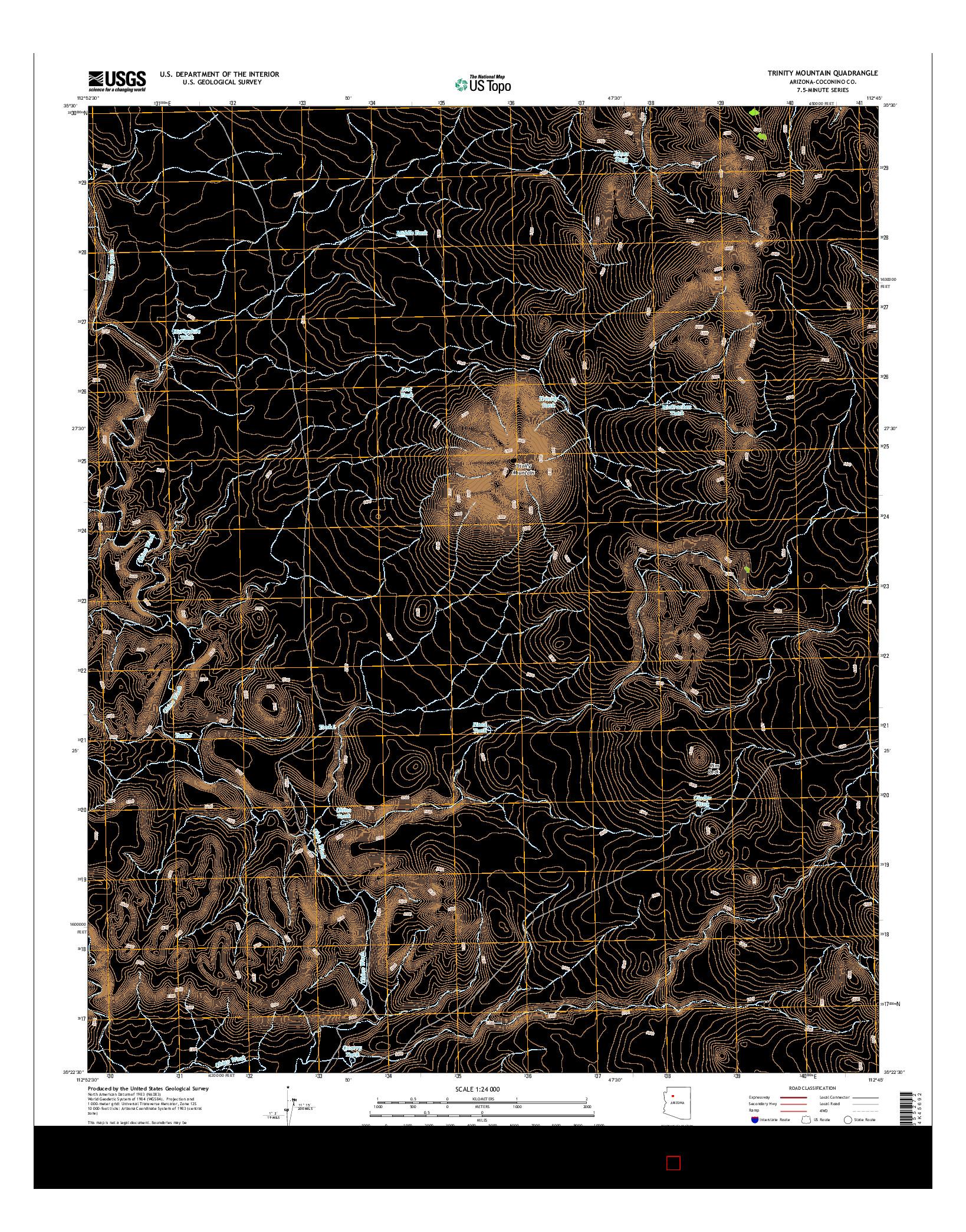 USGS US TOPO 7.5-MINUTE MAP FOR TRINITY MOUNTAIN, AZ 2014