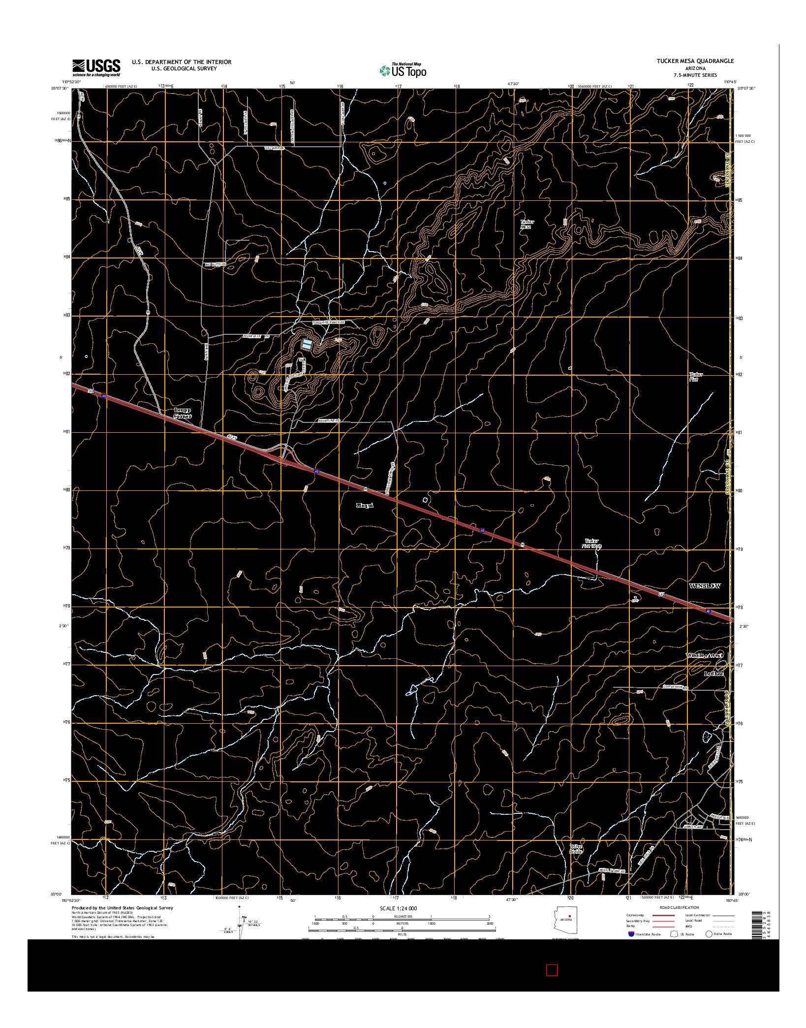 USGS US TOPO 7.5-MINUTE MAP FOR TUCKER MESA, AZ 2014