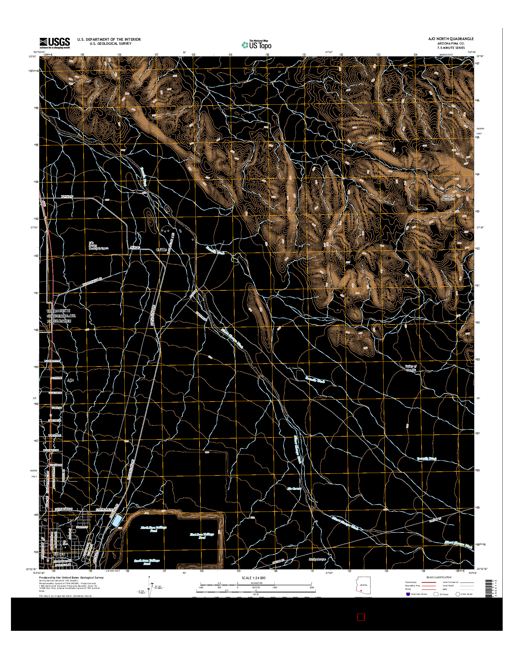 USGS US TOPO 7.5-MINUTE MAP FOR AJO NORTH, AZ 2014