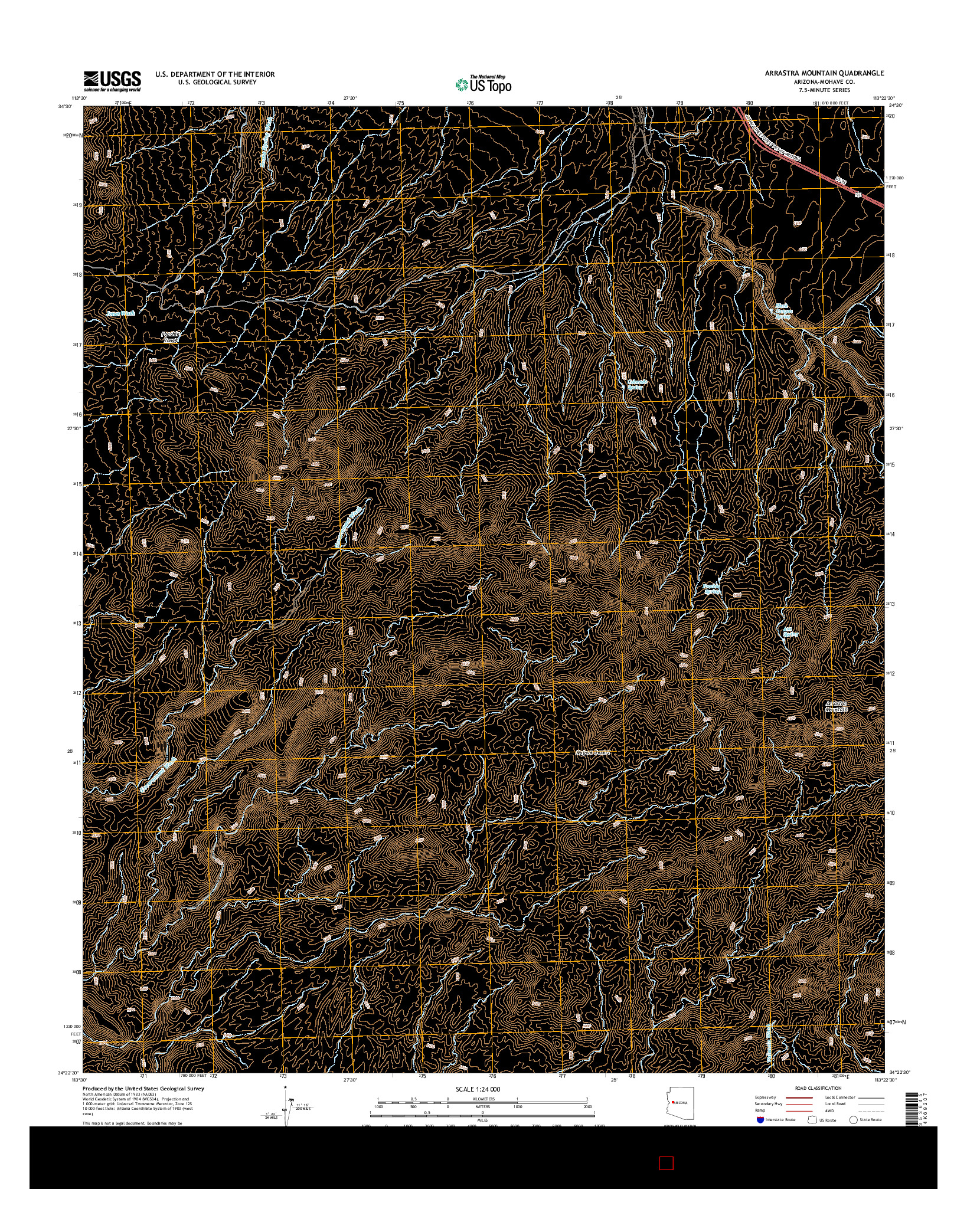 USGS US TOPO 7.5-MINUTE MAP FOR ARRASTRA MOUNTAIN, AZ 2014