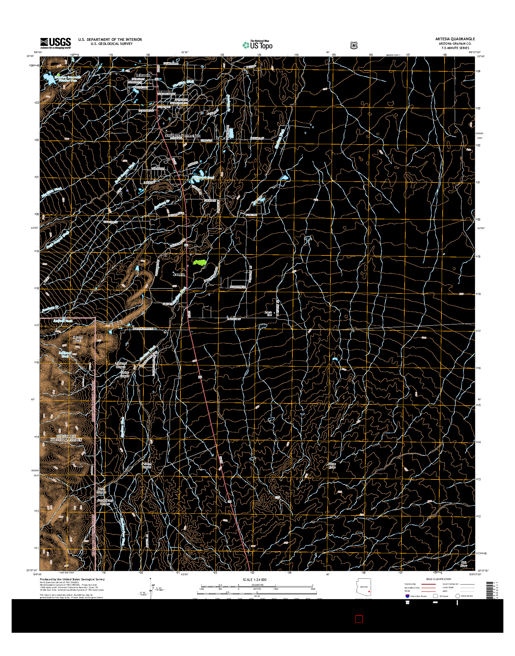 USGS US TOPO 7.5-MINUTE MAP FOR ARTESIA, AZ 2014