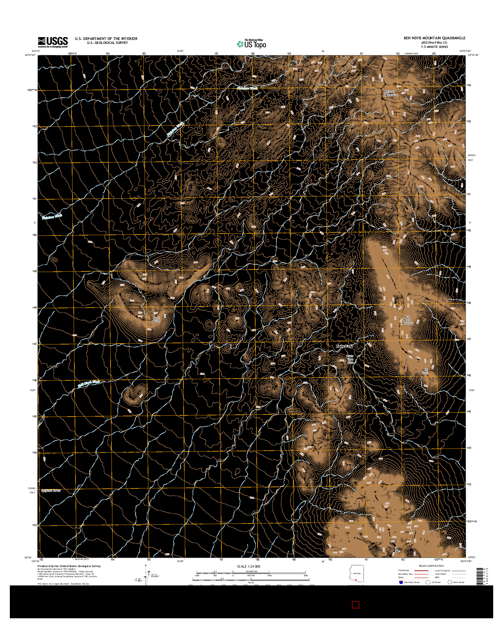 USGS US TOPO 7.5-MINUTE MAP FOR BEN NEVIS MOUNTAIN, AZ 2014