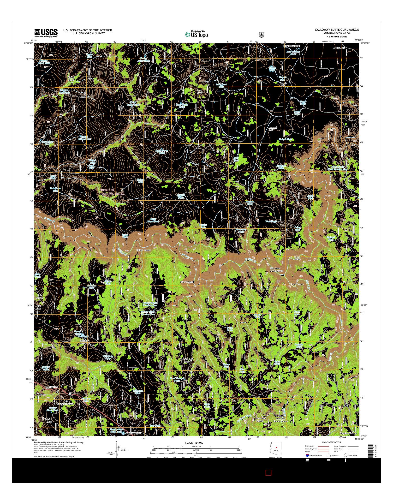 USGS US TOPO 7.5-MINUTE MAP FOR CALLOWAY BUTTE, AZ 2014