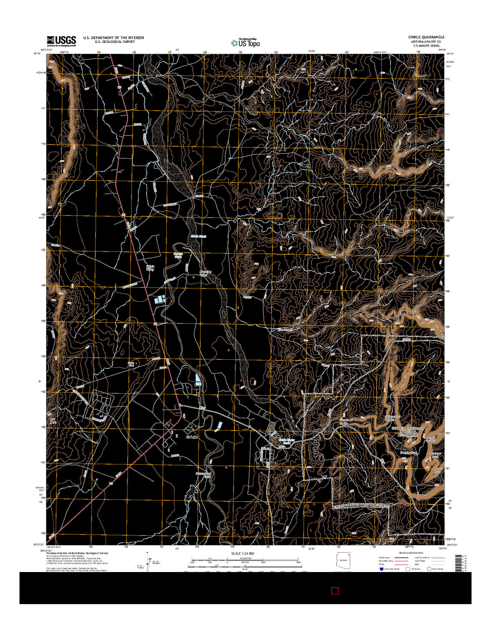 USGS US TOPO 7.5-MINUTE MAP FOR CHINLE, AZ 2014
