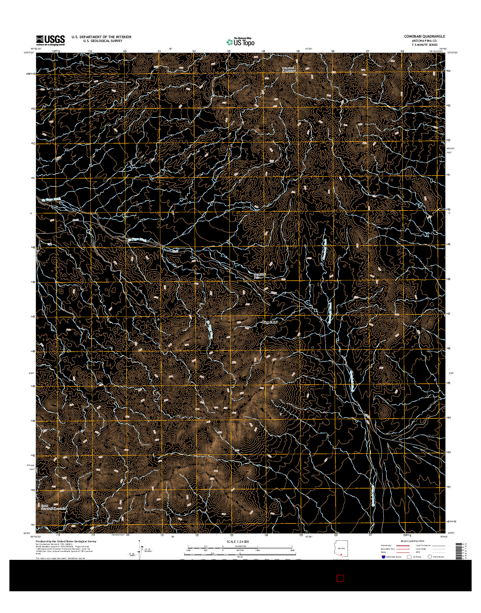 USGS US TOPO 7.5-MINUTE MAP FOR COMOBABI, AZ 2014