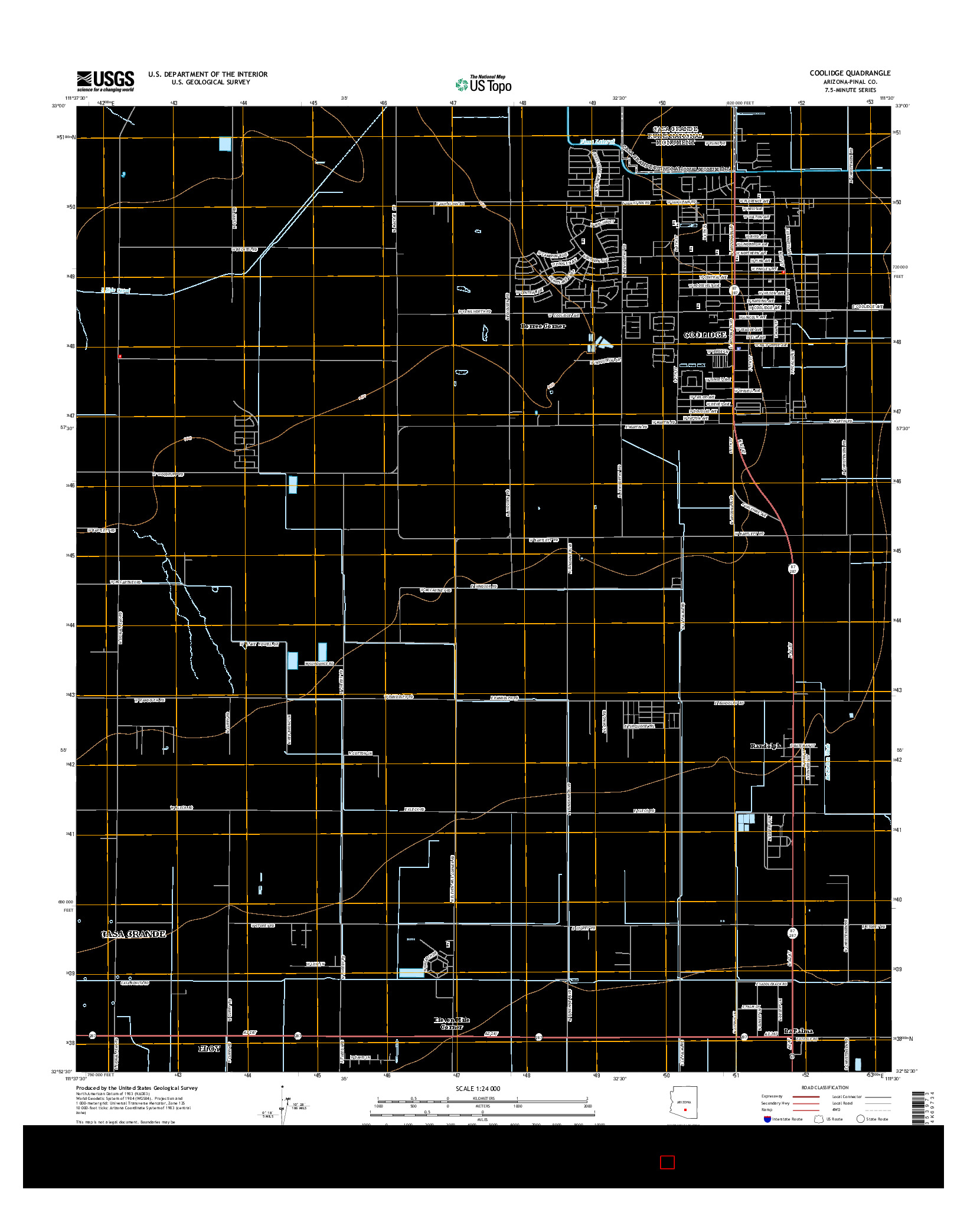 USGS US TOPO 7.5-MINUTE MAP FOR COOLIDGE, AZ 2014