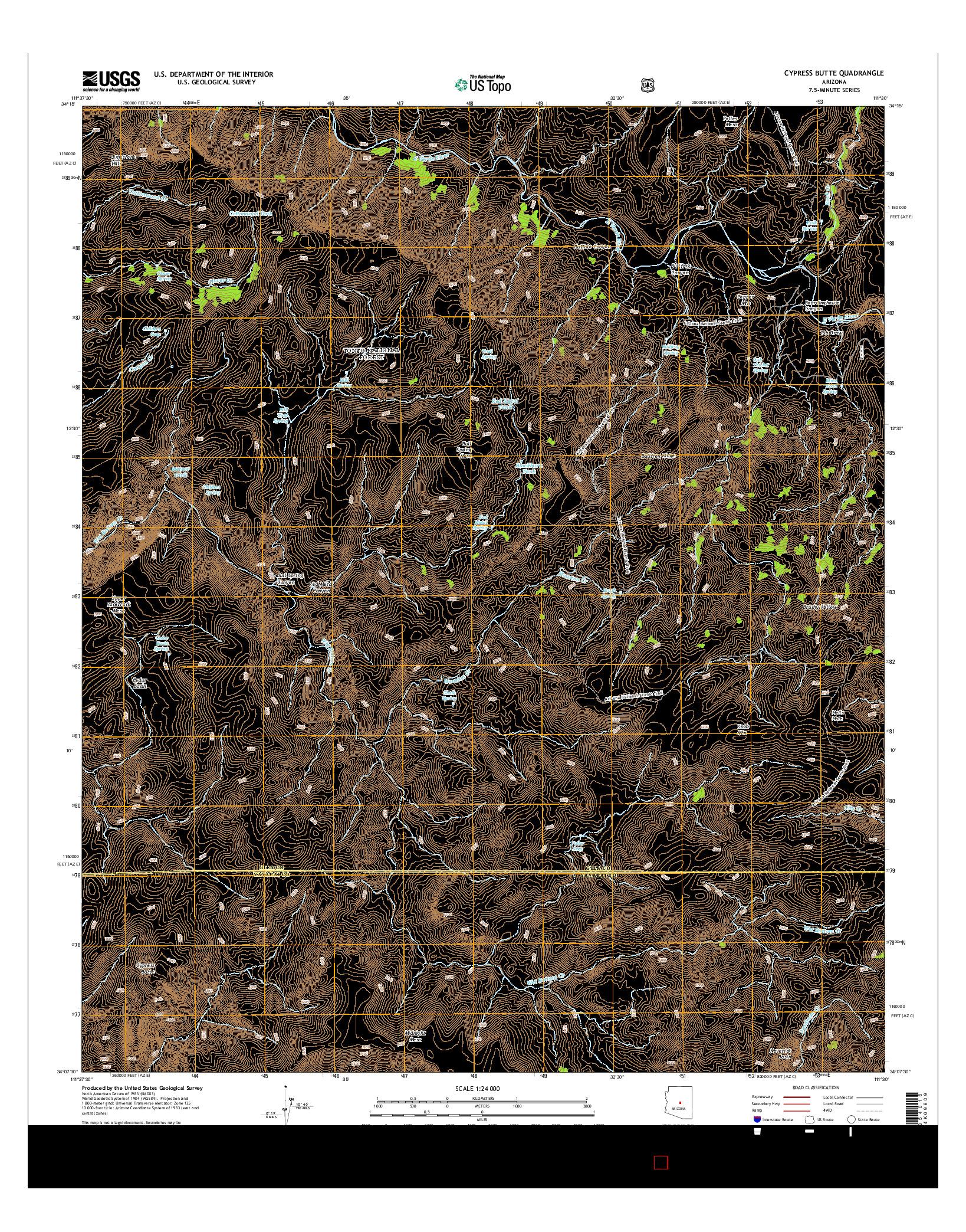 USGS US TOPO 7.5-MINUTE MAP FOR CYPRESS BUTTE, AZ 2014