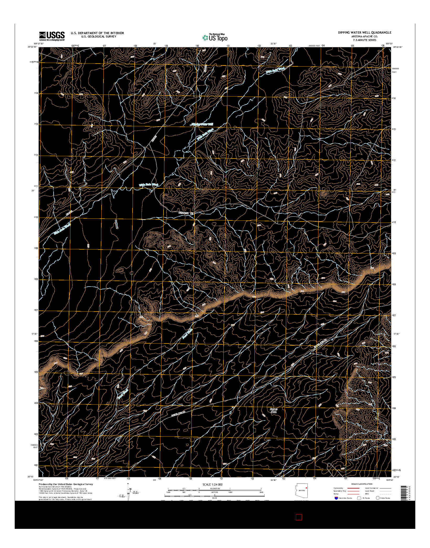 USGS US TOPO 7.5-MINUTE MAP FOR DIPPING WATER WELL, AZ 2014