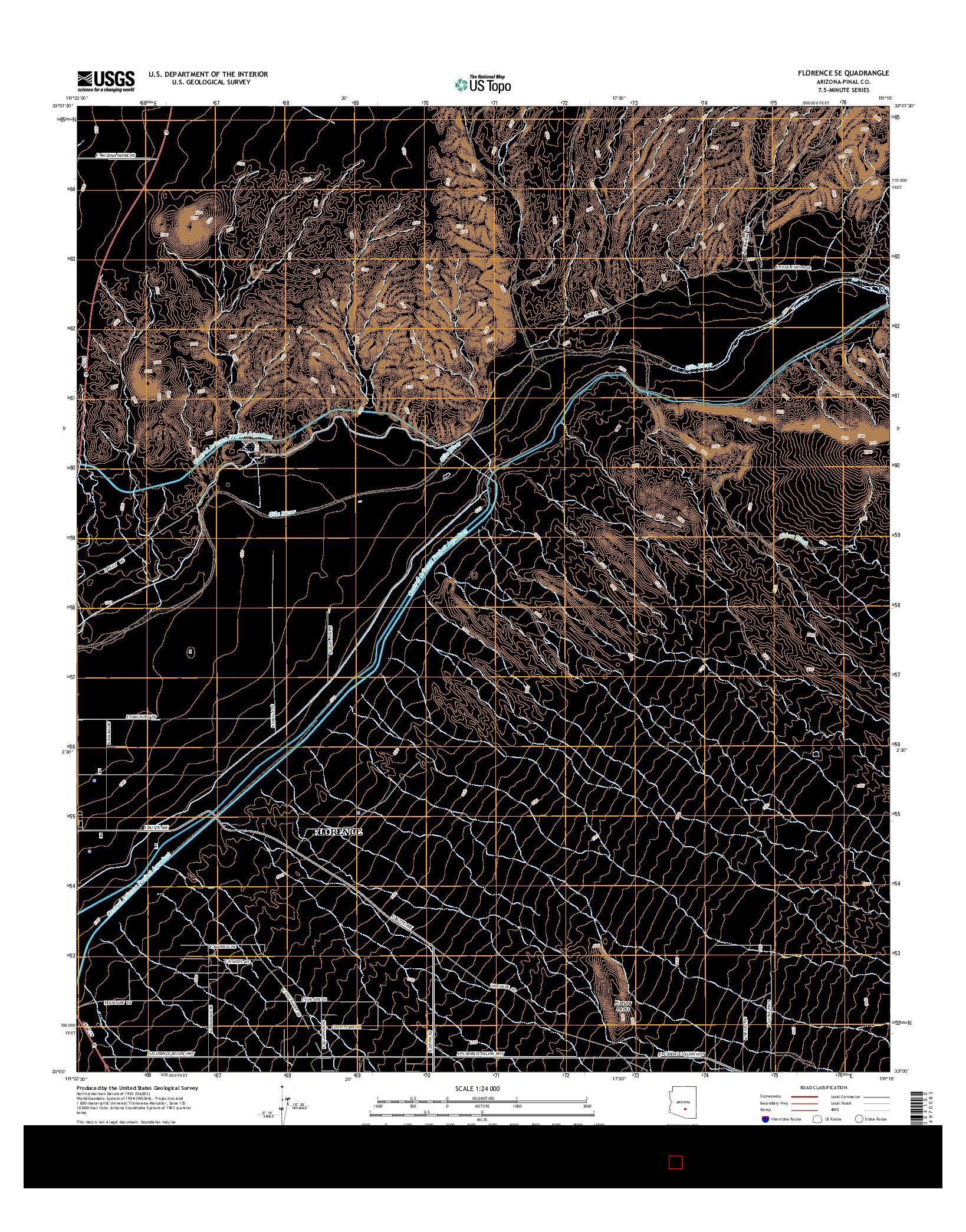 USGS US TOPO 7.5-MINUTE MAP FOR FLORENCE SE, AZ 2014