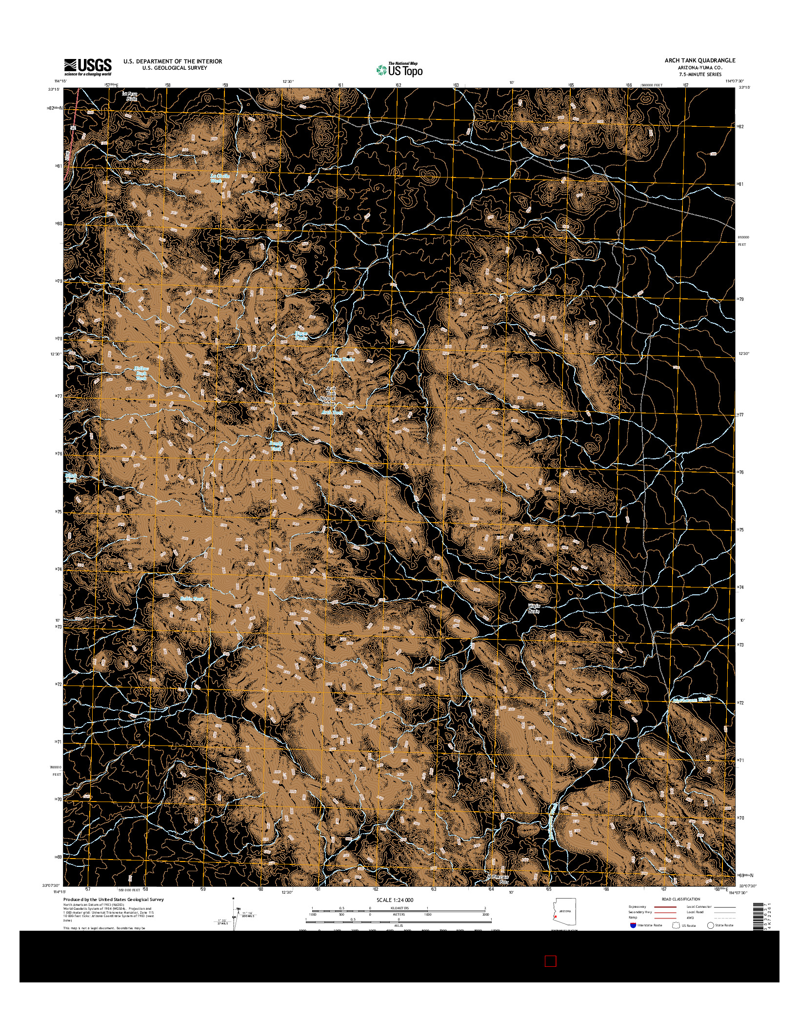 USGS US TOPO 7.5-MINUTE MAP FOR ARCH TANK, AZ 2014