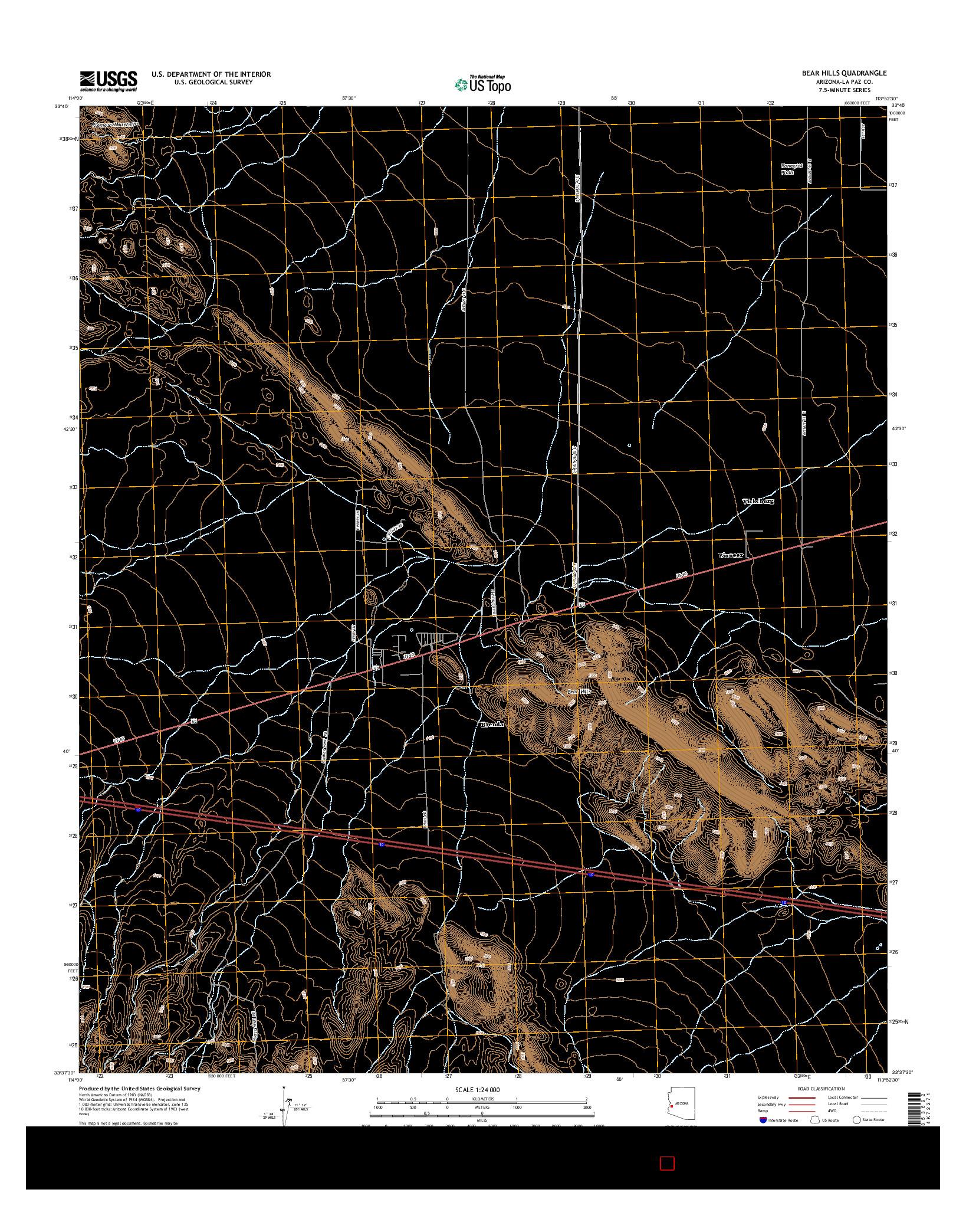 USGS US TOPO 7.5-MINUTE MAP FOR BEAR HILLS, AZ 2014