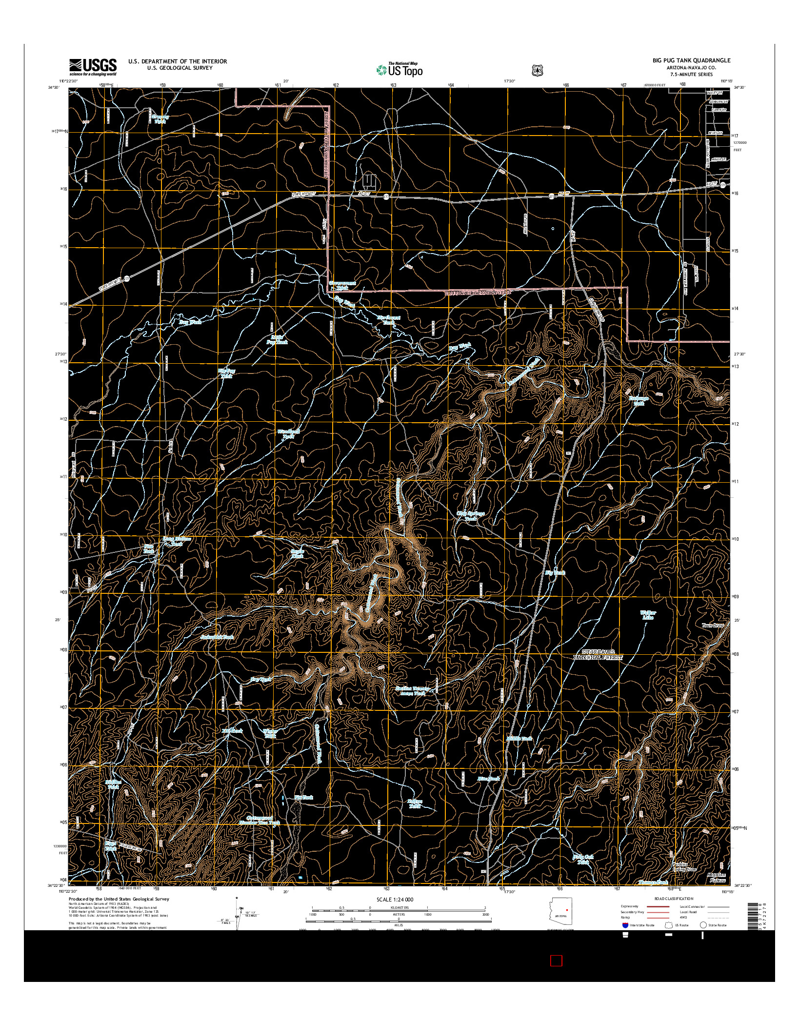 USGS US TOPO 7.5-MINUTE MAP FOR BIG PUG TANK, AZ 2014