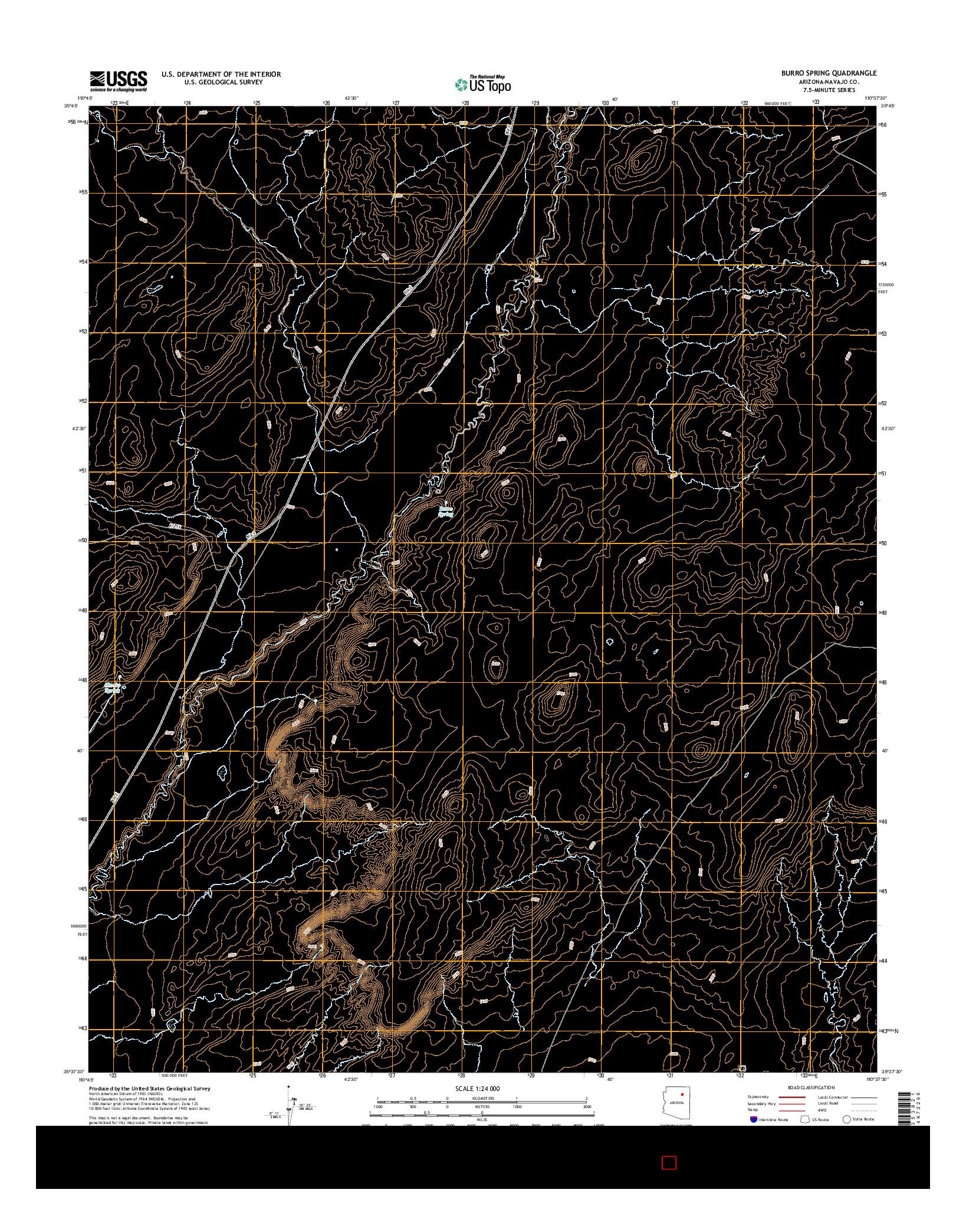 USGS US TOPO 7.5-MINUTE MAP FOR BURRO SPRING, AZ 2014