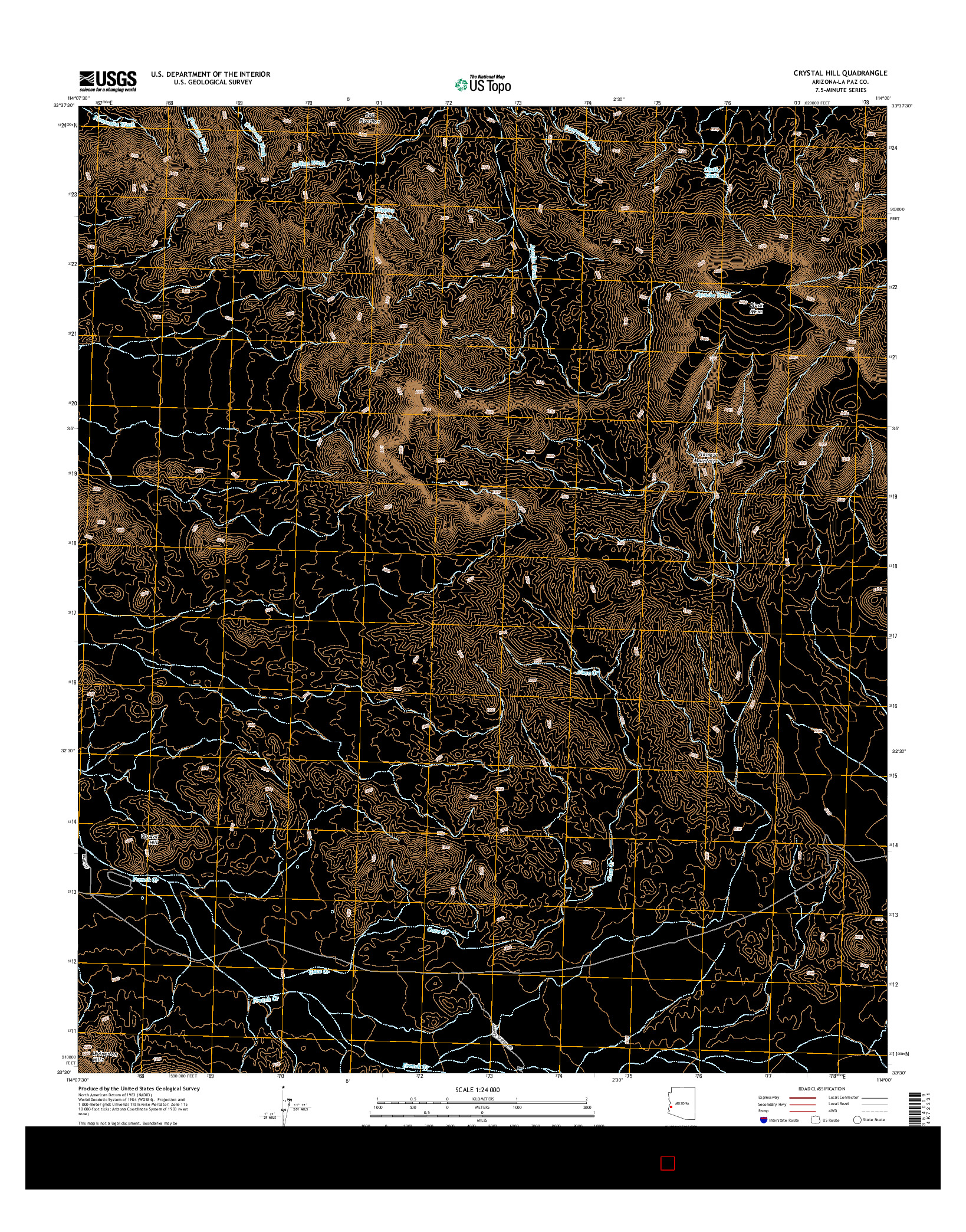 USGS US TOPO 7.5-MINUTE MAP FOR CRYSTAL HILL, AZ 2014